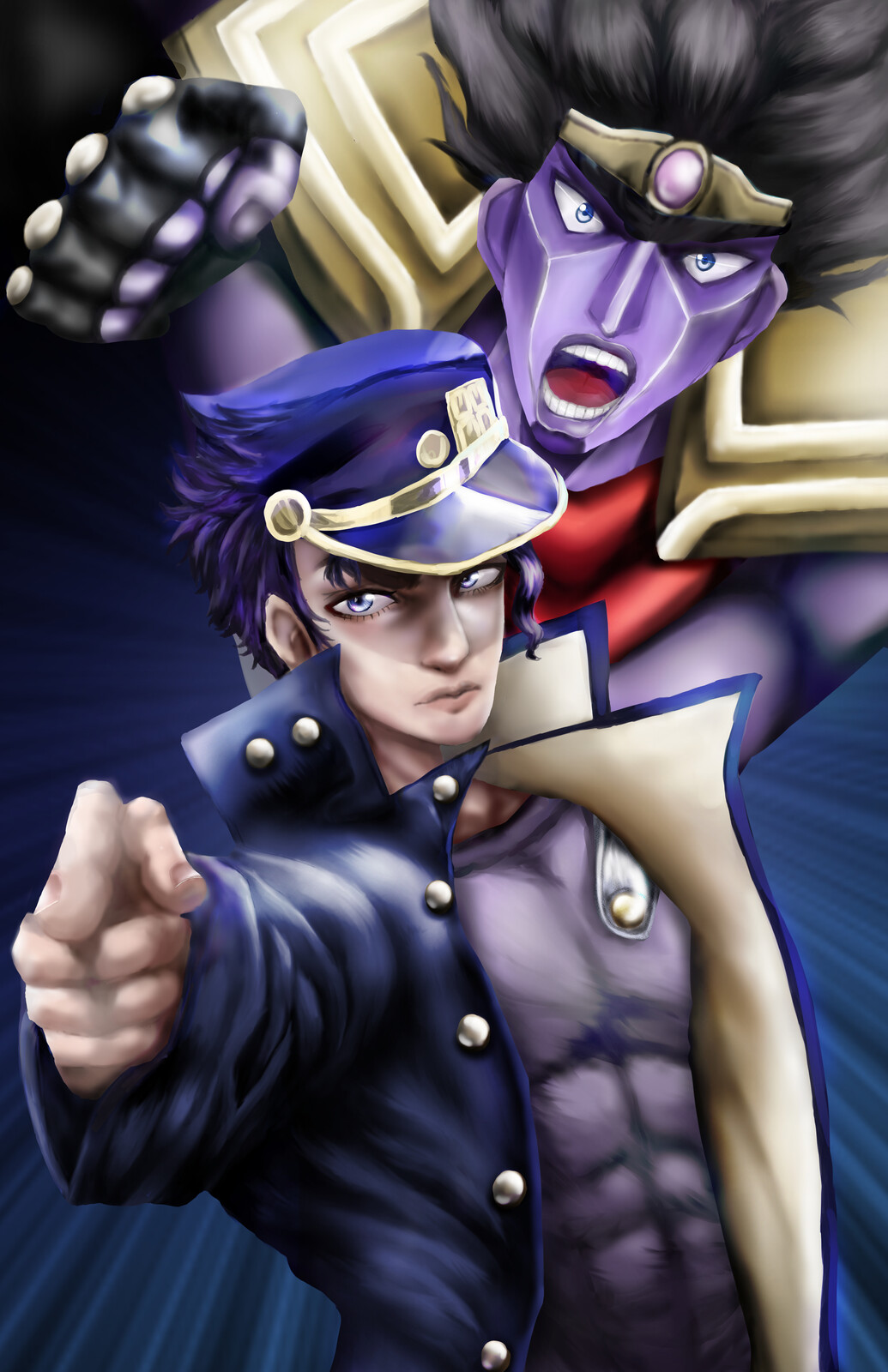 Jotaro and Star Platinum - Fan Art