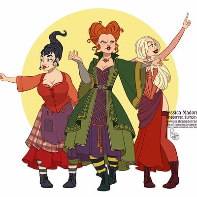 Jessica madorran character design drawlloween hocus pocus 2019 artstation