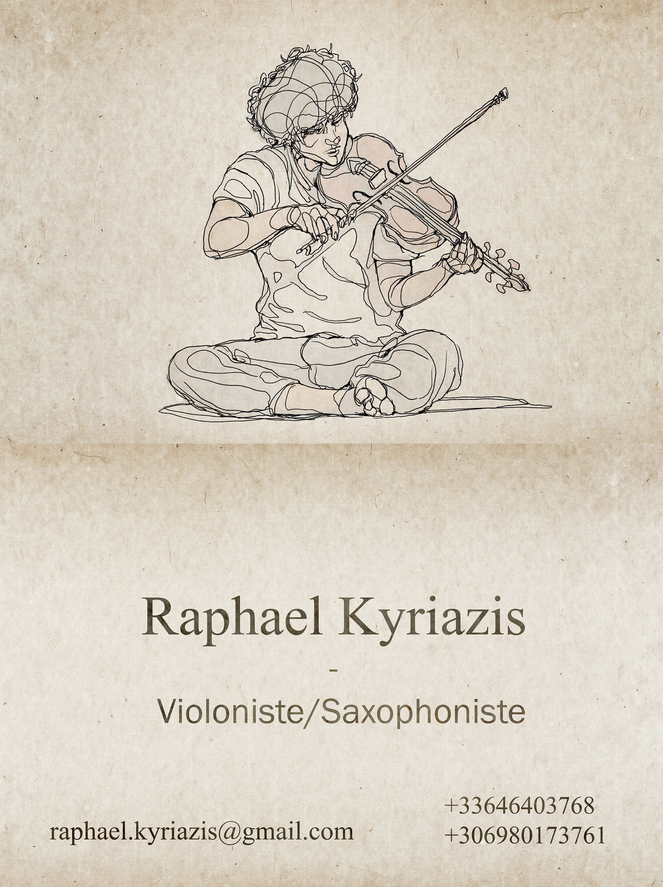 Business card for a musician.
