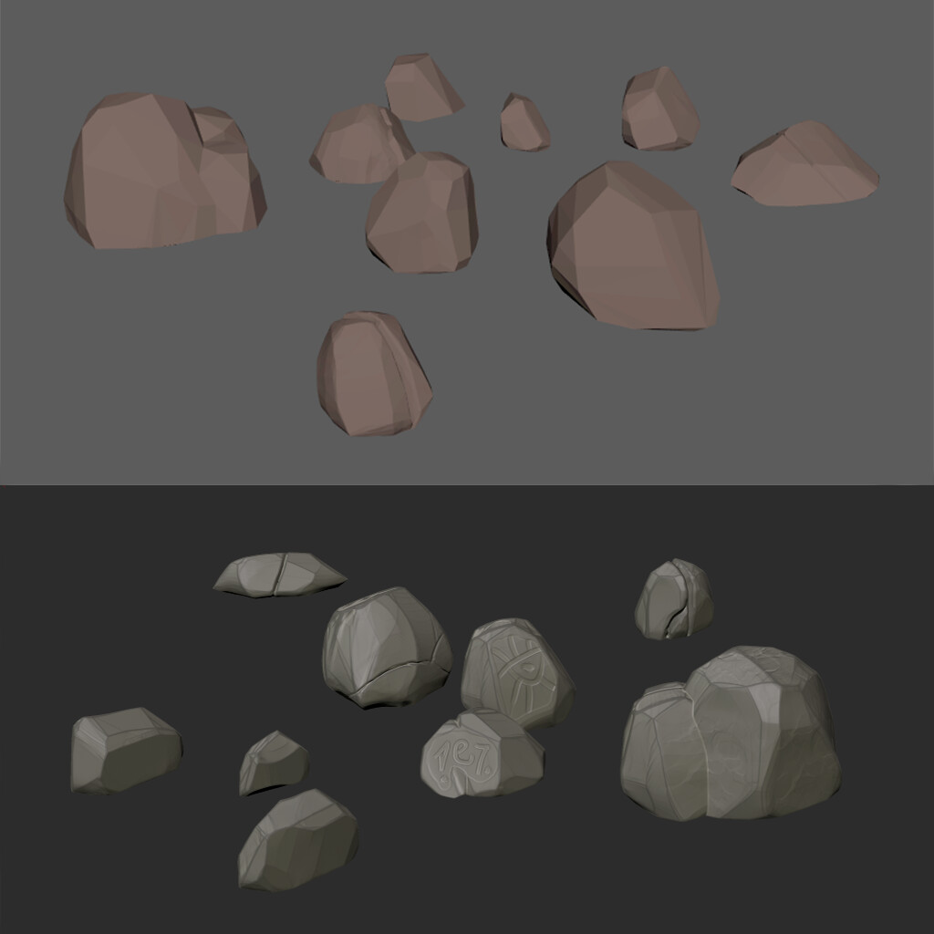 Low/high poly stones - Maya - Zbrush