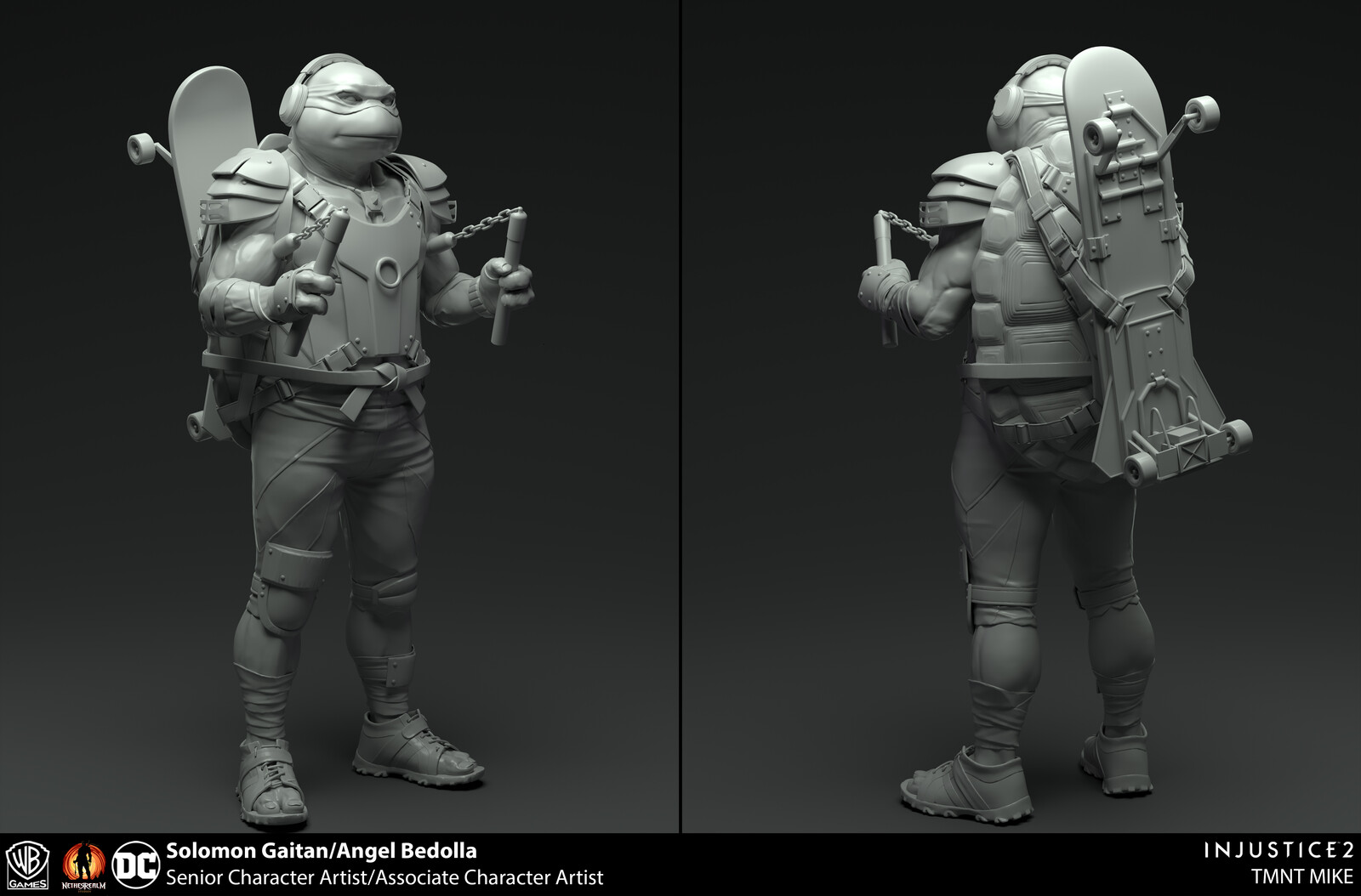Sculpts for injustice 2.  Base body and Nunchucks sculpted by me. Gear: Angel Bedolla