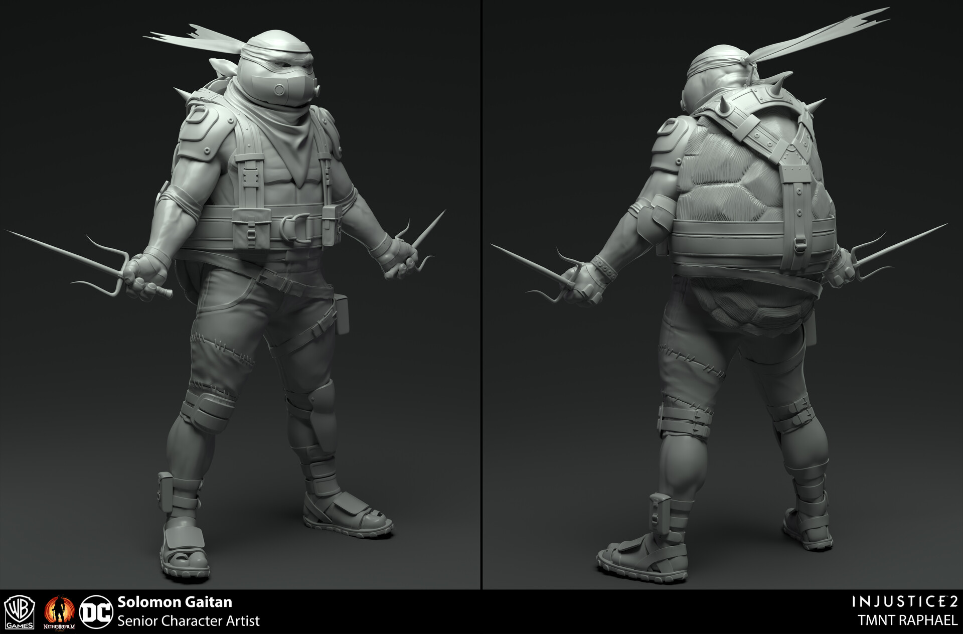 Sculpts for injustice 2.  Base body, Sais, and gear sculpted by me.