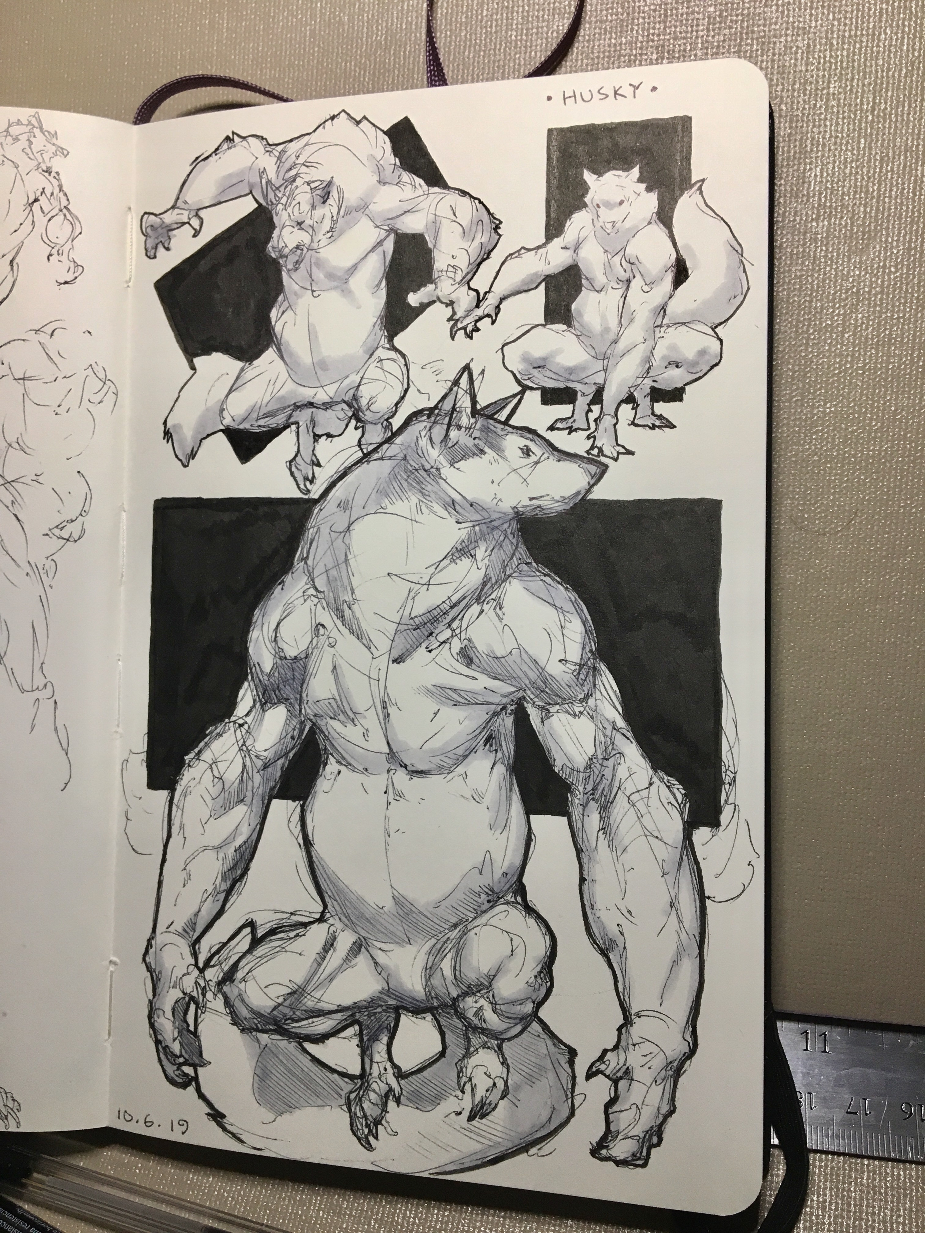 Day 6 of inktober 2019! Husky! Some husky, husky werewolves! Had a lot of fun playing around with the anatomy and proportions.