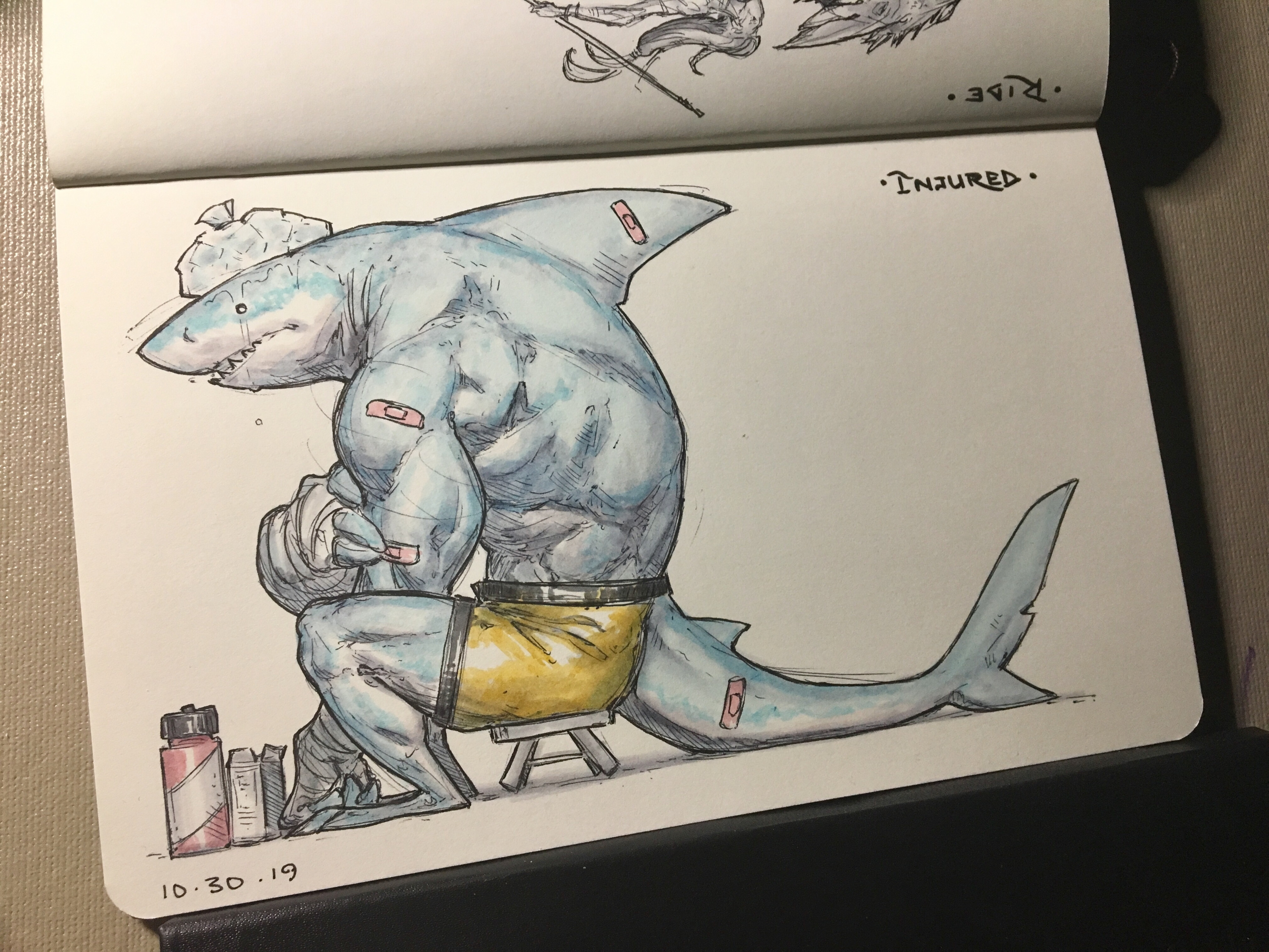 Day 29 of inktober 2019! Injured! Finally caught up, and this time with a shark dude after a fight. Don't worry, he's fine... His injuries aren't as bad as the damage to his pride... 😅