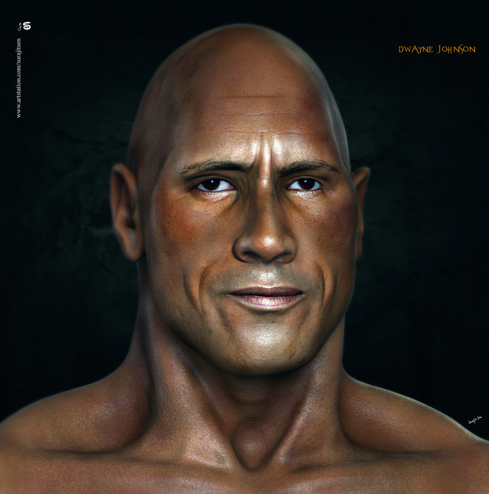 This weekend I have updated one of my old creations. Wish to share the updated version of likeness 3D Character study –  Dwayne Johnson