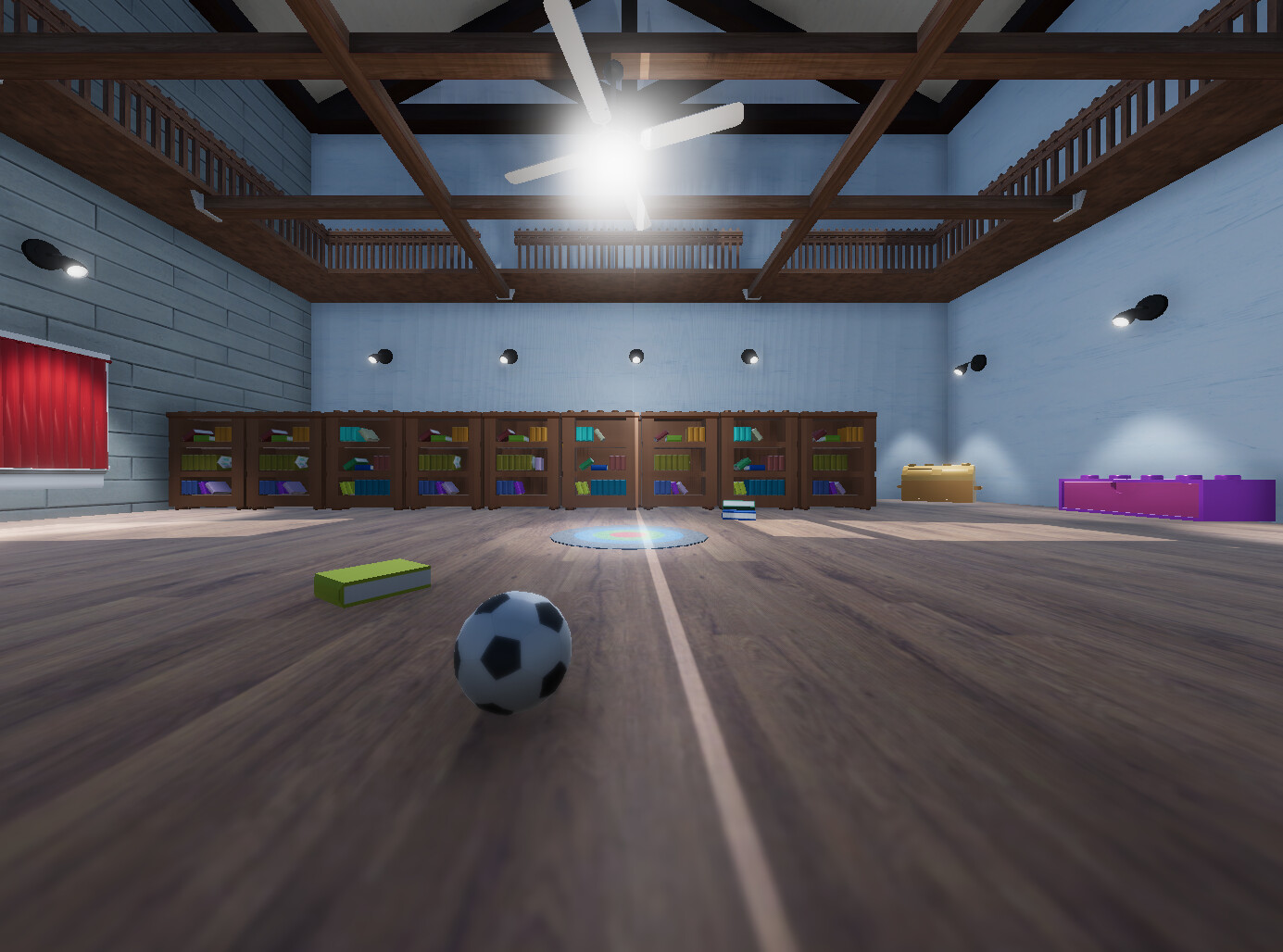 A close up of the flooring and my soccer ball.