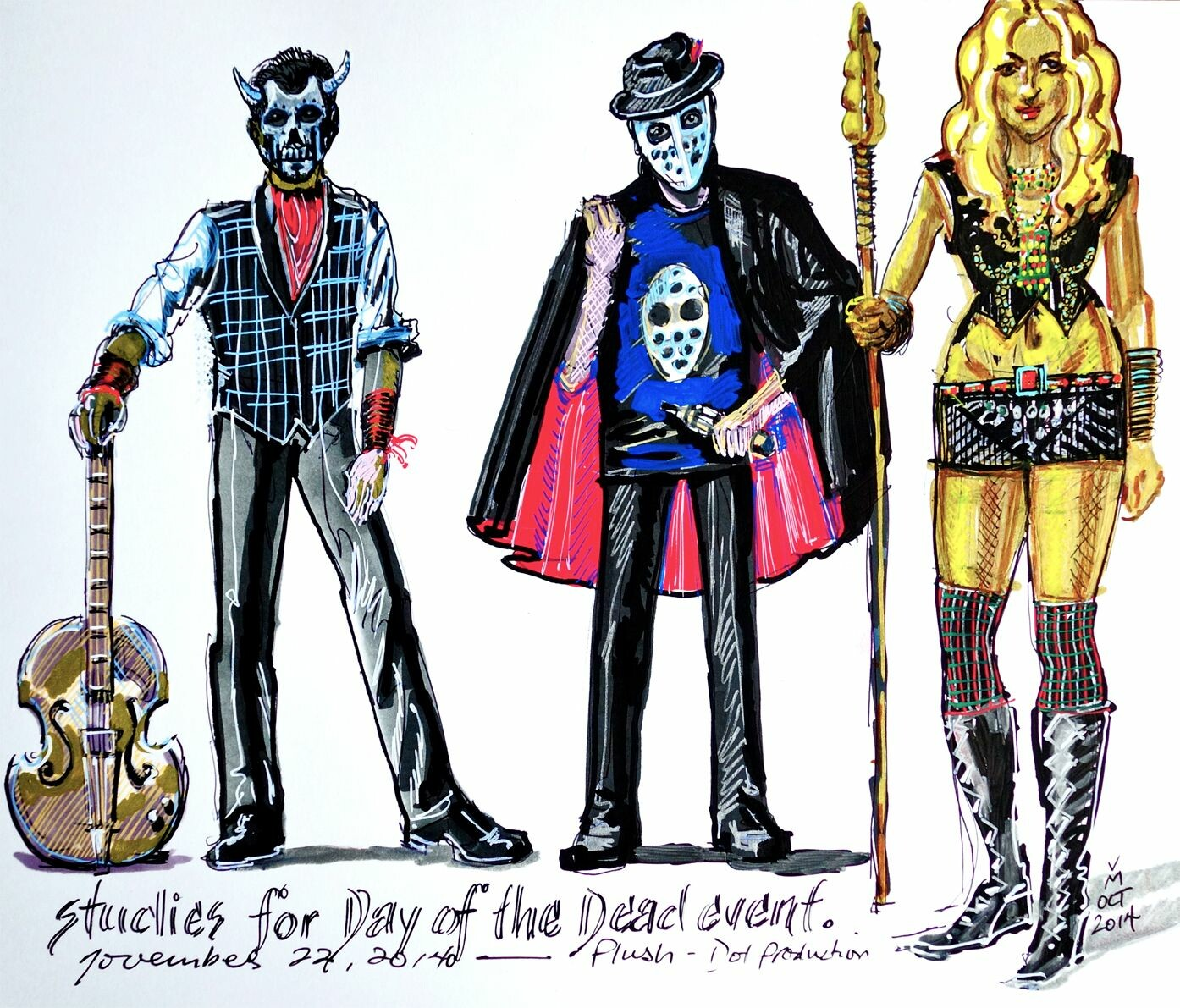 Costume designs for main characters.