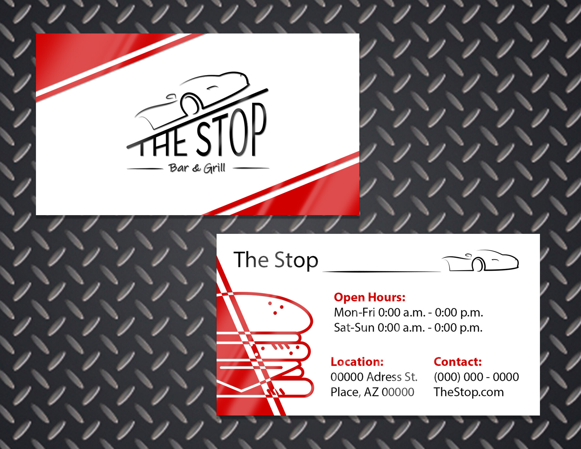 """Informative business card for """"The Stop"""""""