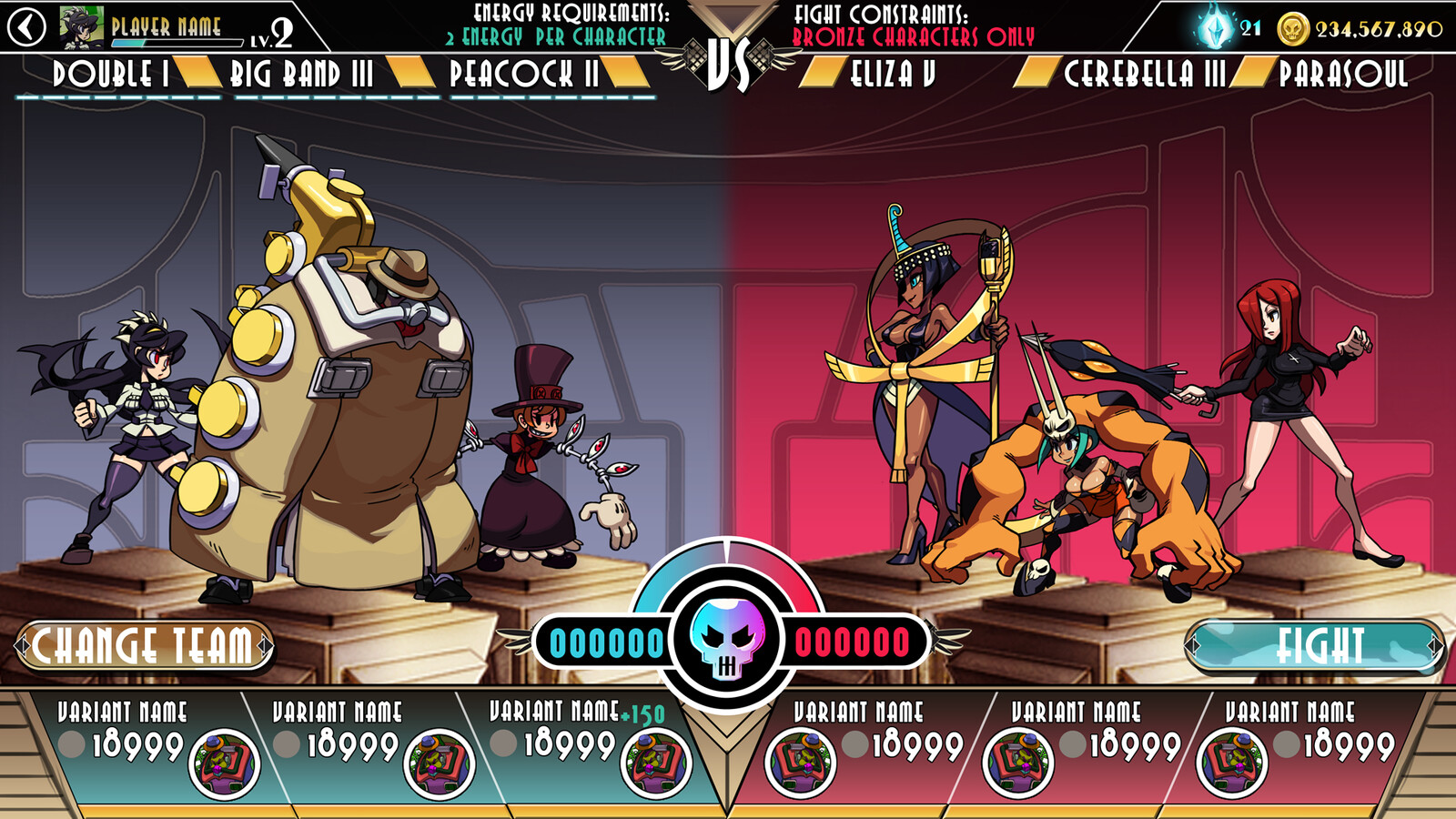 Skullgirls UI Prefight Screen