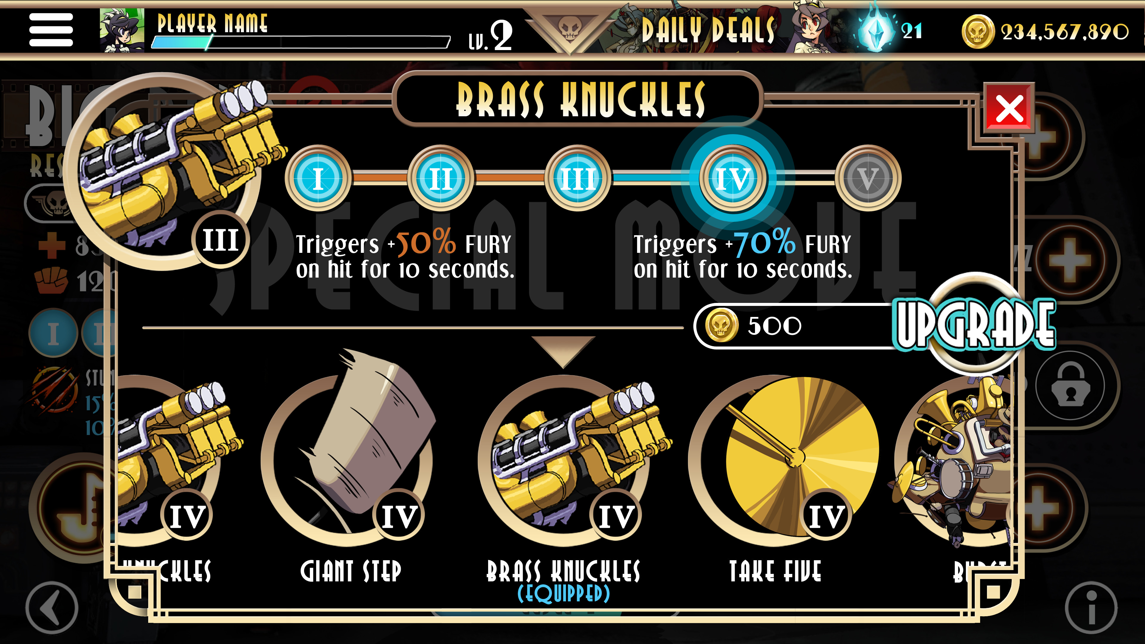 Skullgirls UI Character Details Screen