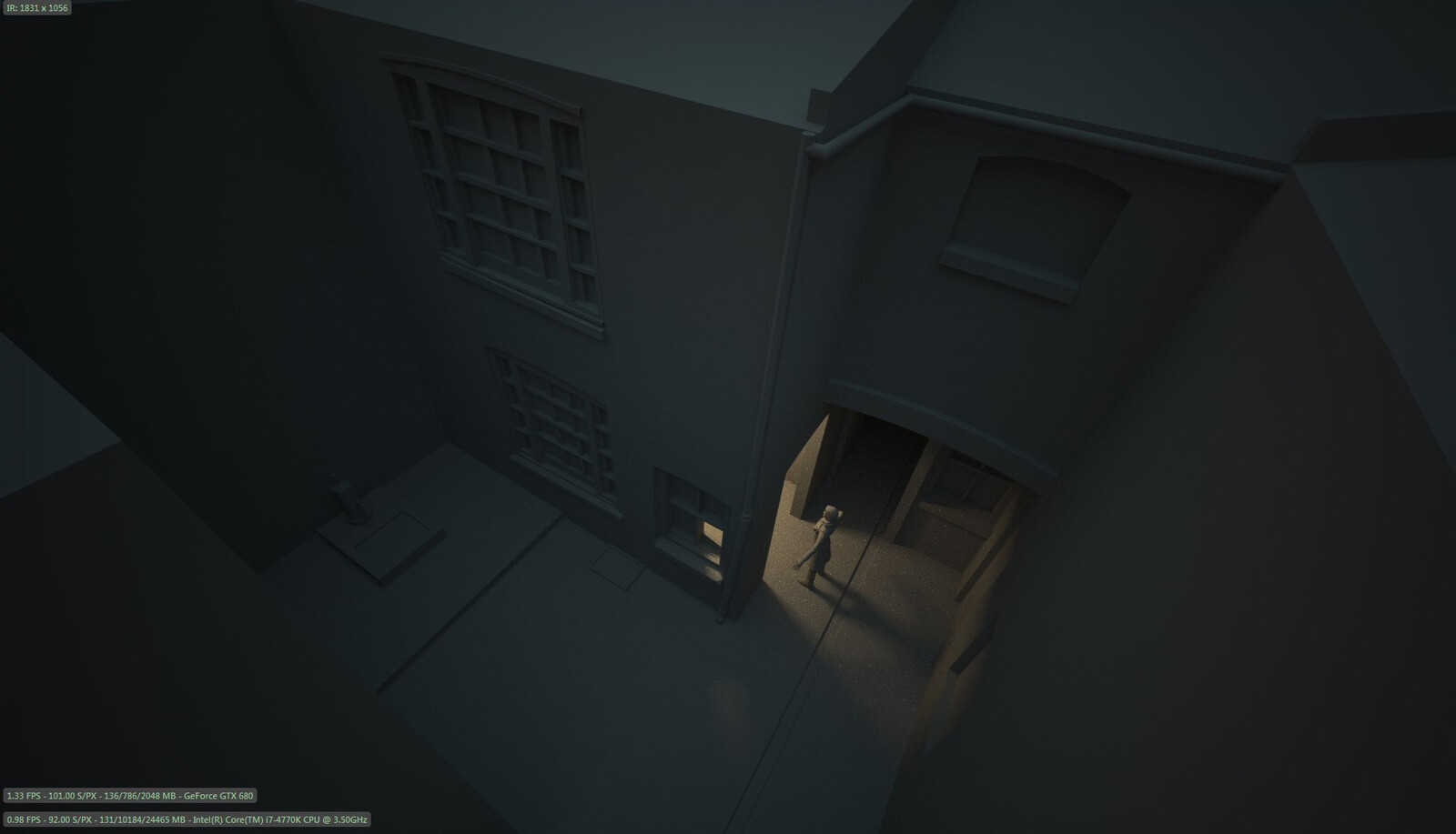 The birds eye camera was a departure from the usual ground-level camera of the game, to try and enhance the unease and disassociation, as well as contrast the tiny interior of the room the player walks into for the next scene.
