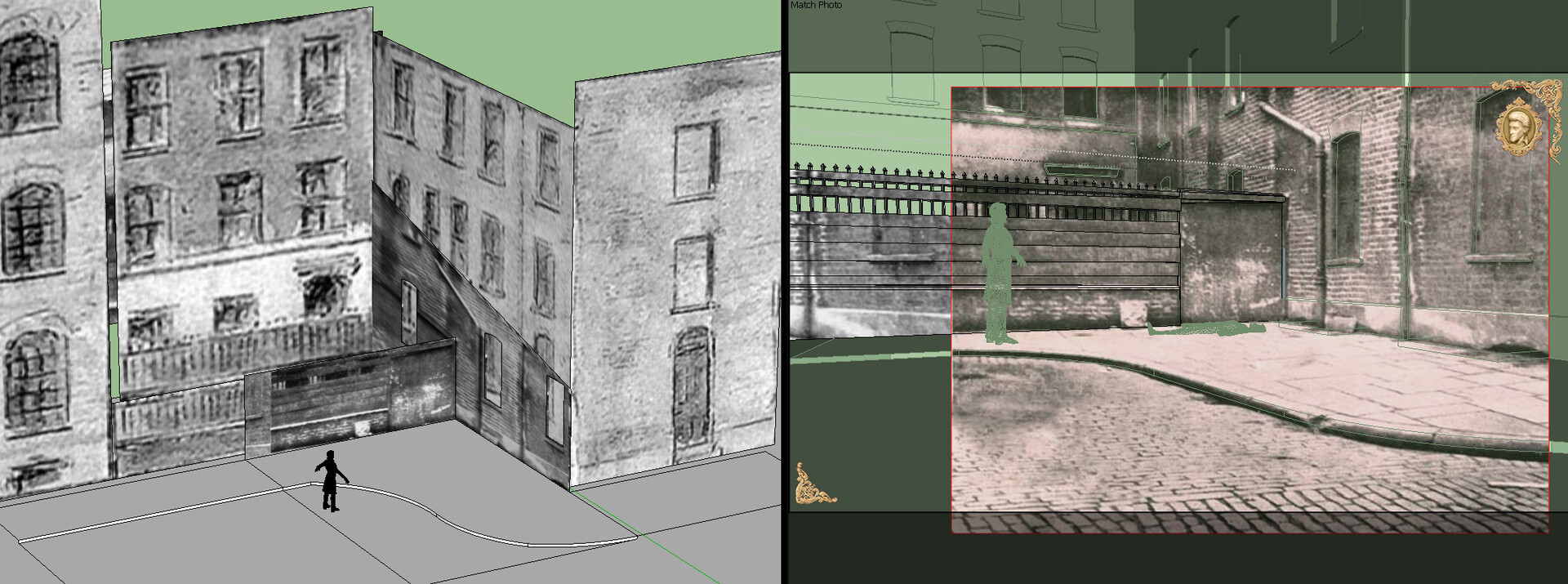 I used the illustration as a starting point and turned it into a 3D scene in Sketchup. I then used the contemporary photo to get the geometric details of the crime scene as accurate as possible to what it looked like at the time.