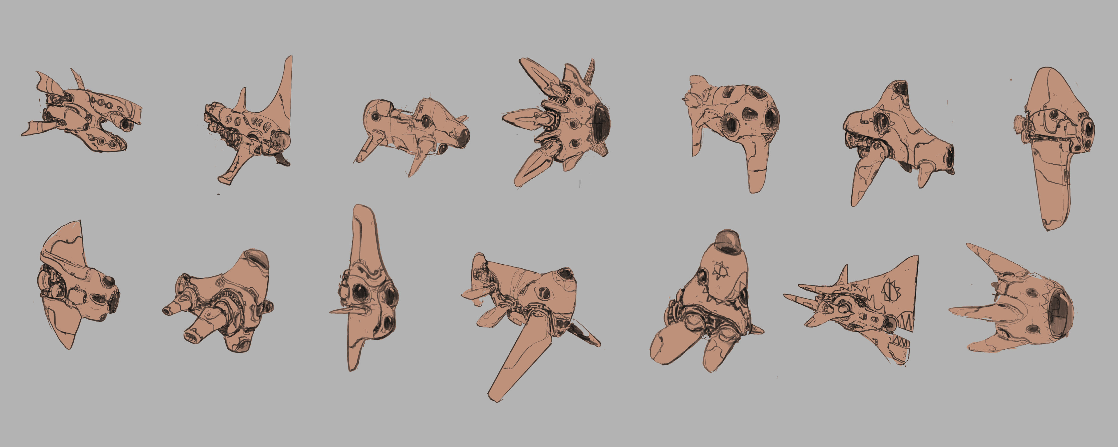 Initial Exploratory Sketches, done to find the right personality and look for the ship.