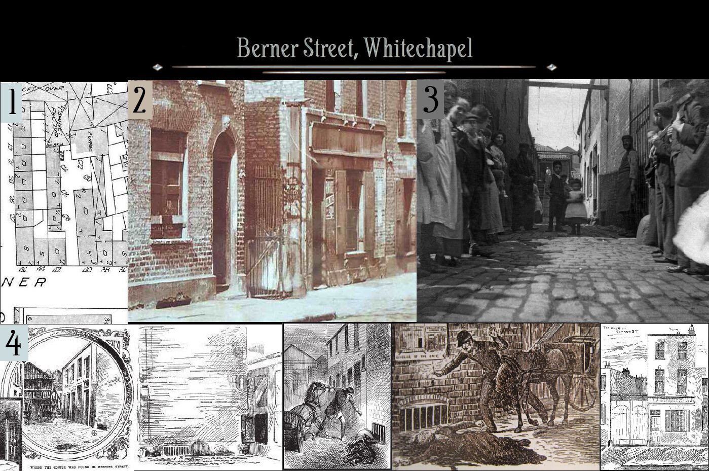 1. The original layout, which is now a carpark. 2. A photo of the alley in which Elizabeth Stride was murdered. 3. A view down the alley. 4. Various contemporary illustrations of the scene.