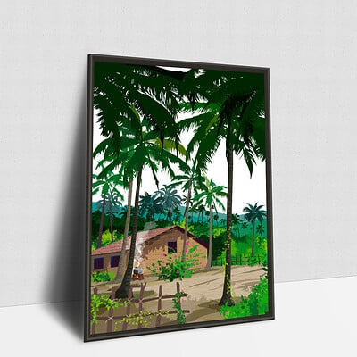 Rajesh r sawant house in coconut trees framed