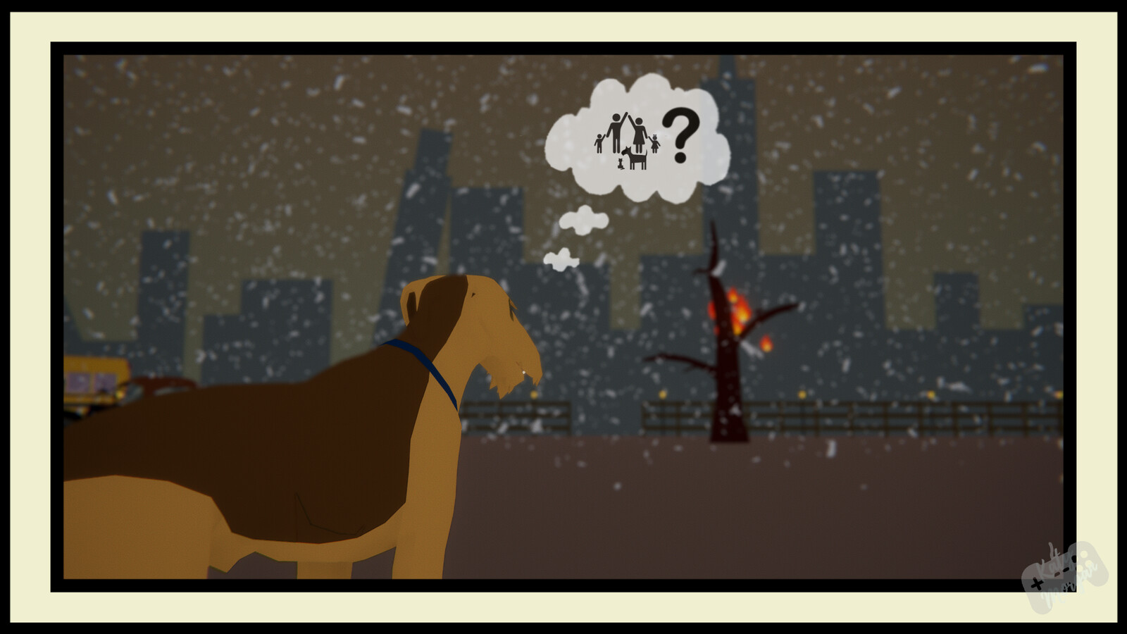Time has passed and the dog has now found his way to town.  All assets here are 3D made by myself in Maya.