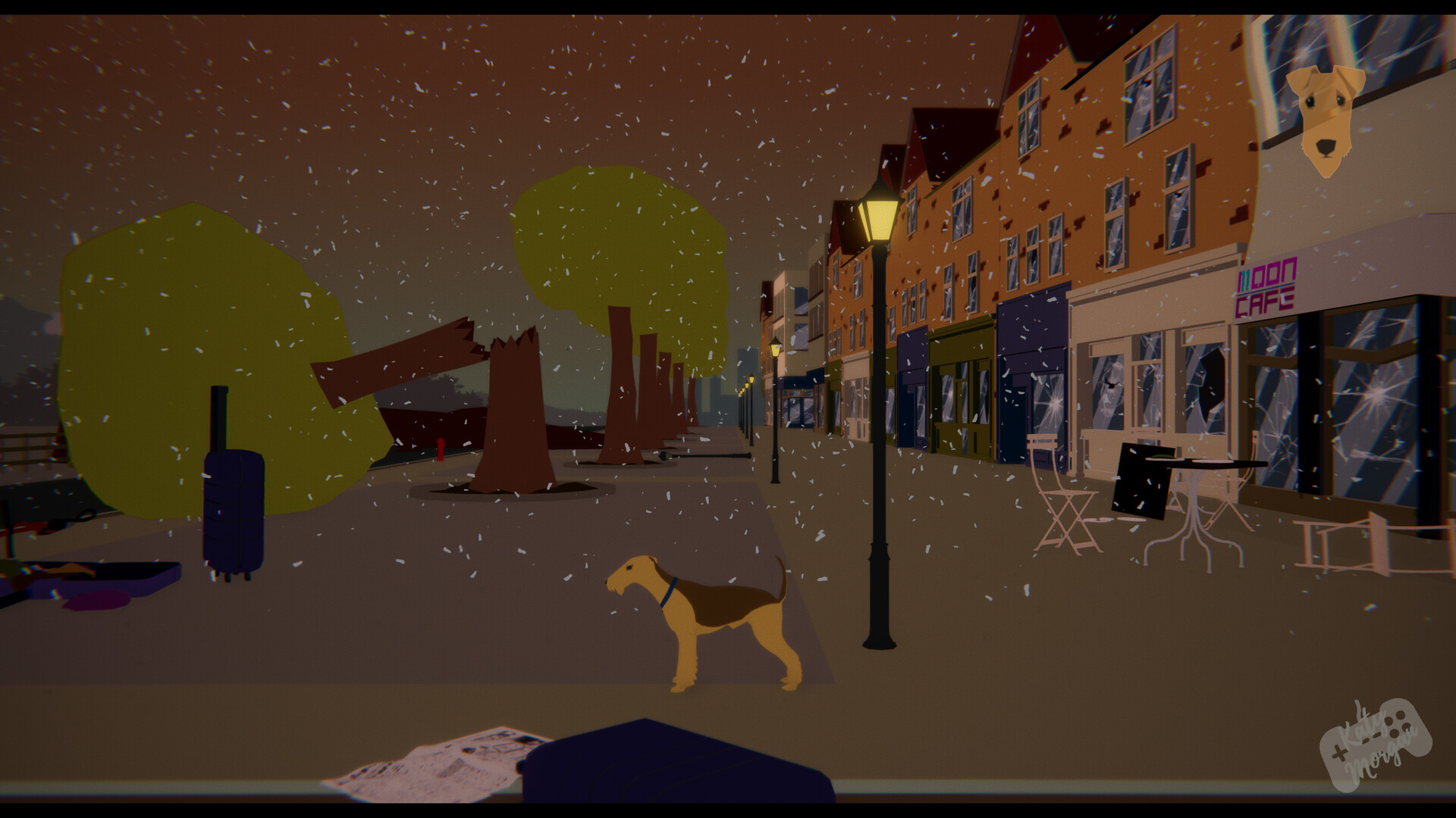 ..the dog also realises that the town has been mostly abandoned. All assets here are 3D made by myself in Maya.