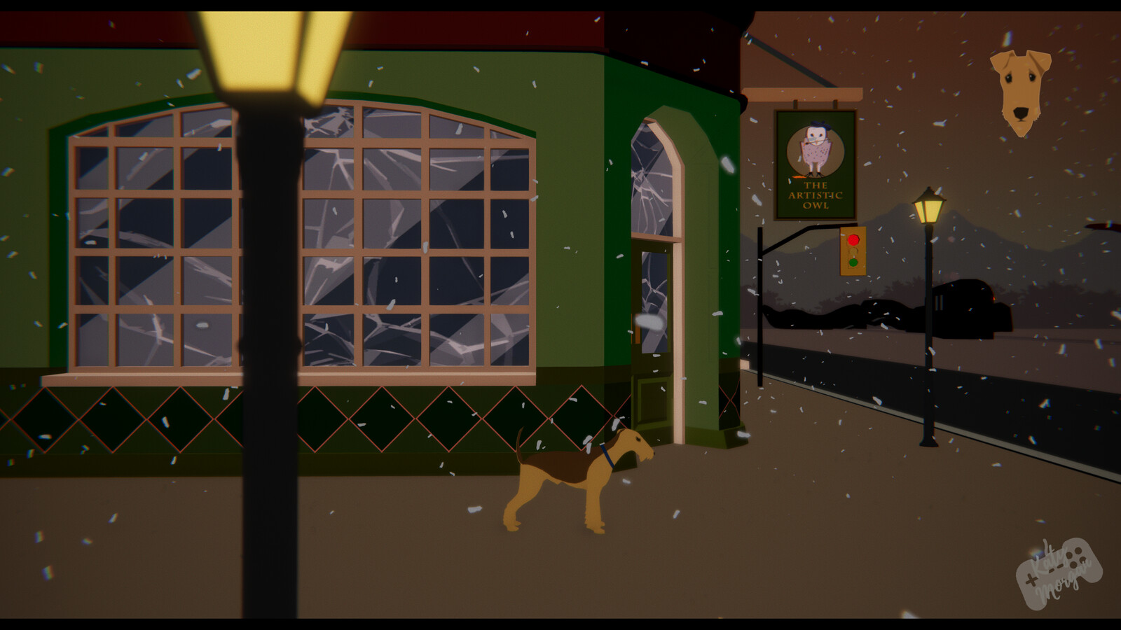 Finally the dog has reached the end of the town where the local pub is located. All assets here are 3D made by myself in Maya.