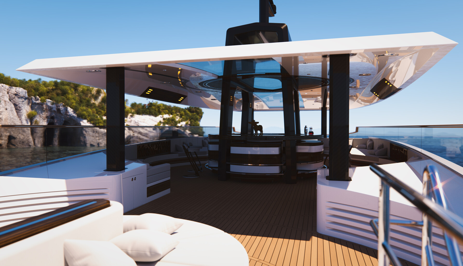 G250: Sundeck, stairs, looking forward.