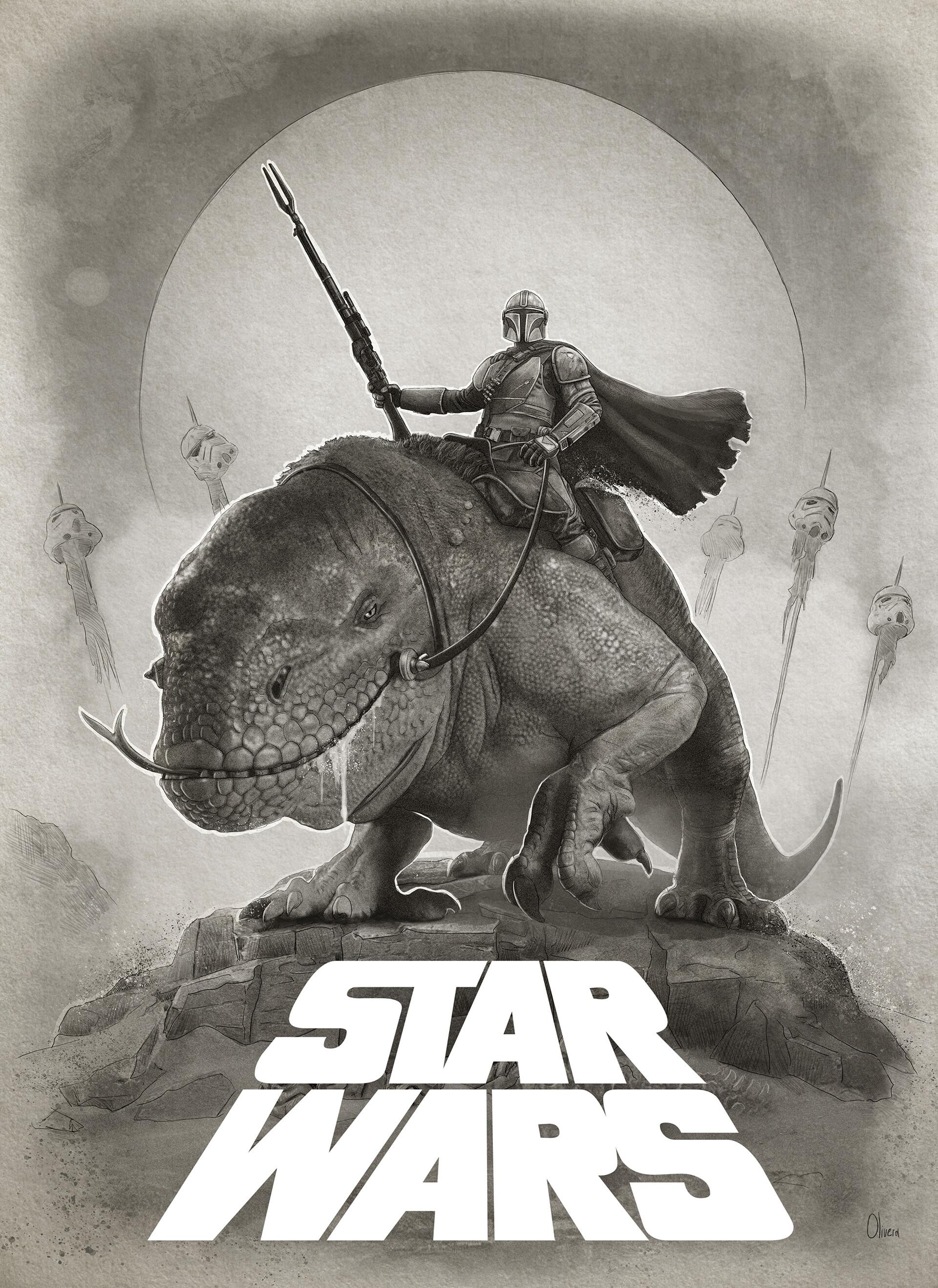 Pablo olivera star wars the mandalarian poster print v10 dibujo2 baja