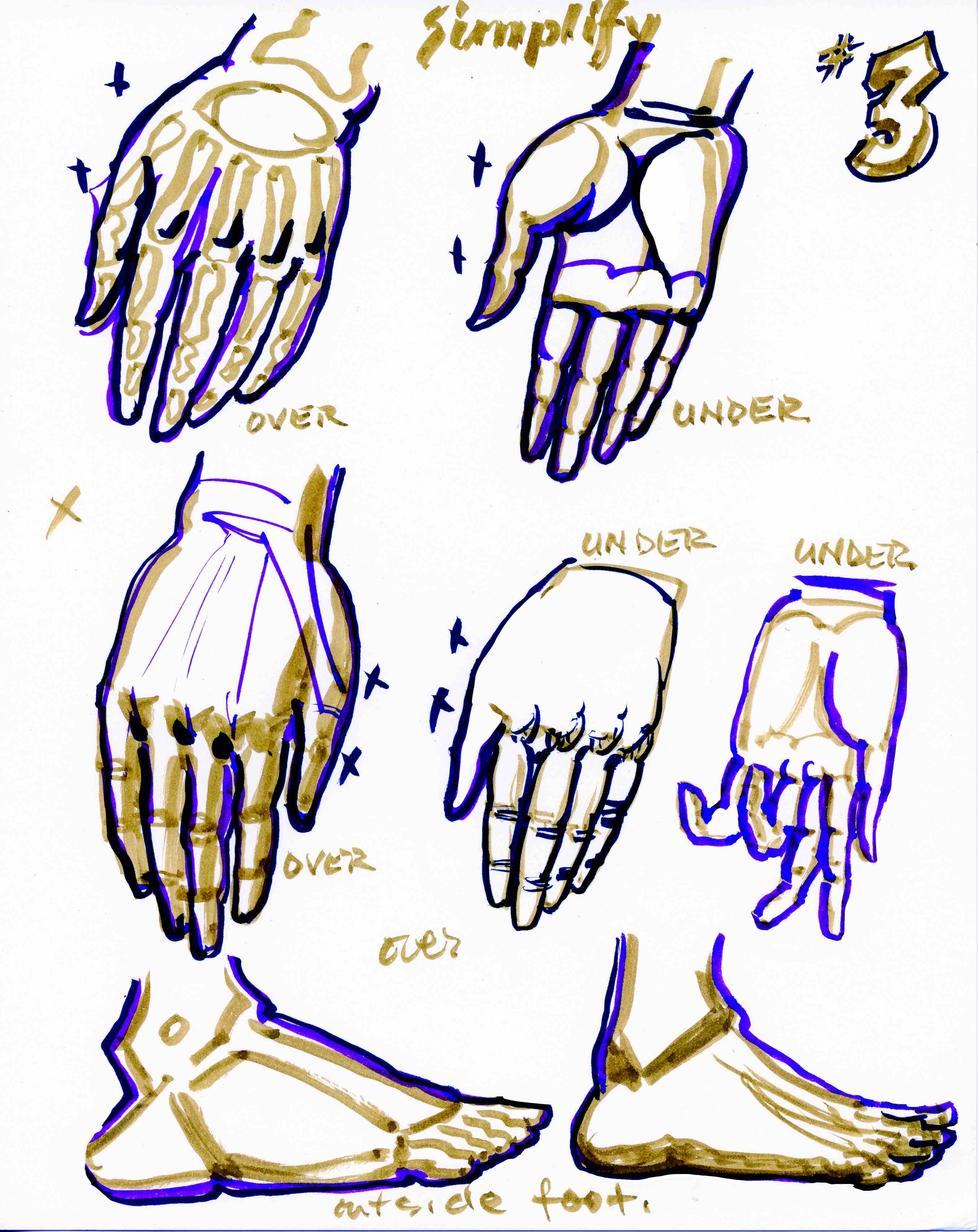 Key essentials of the hand simplified into graphic elements.