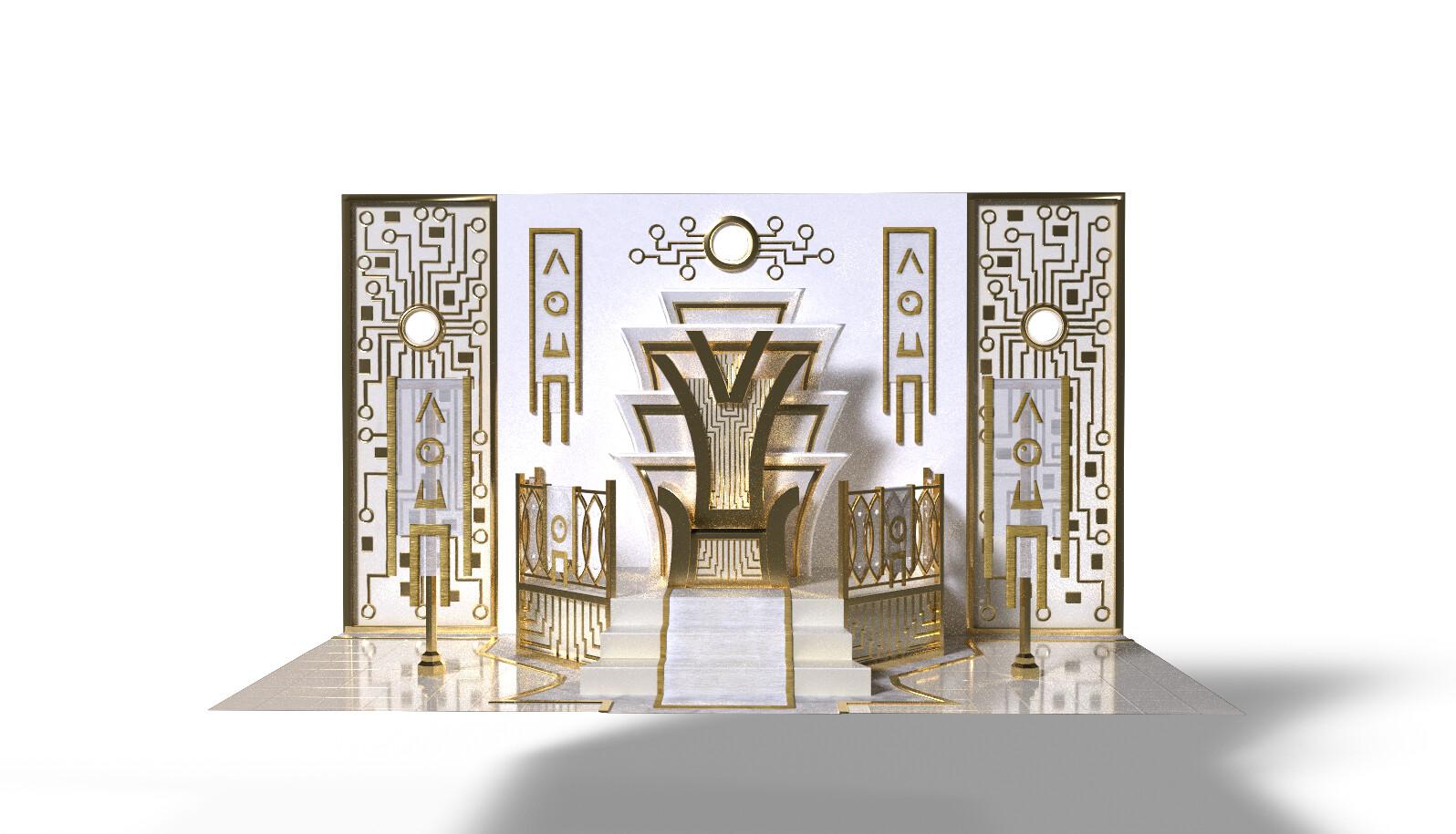 Futuristic throne room. IRay render.