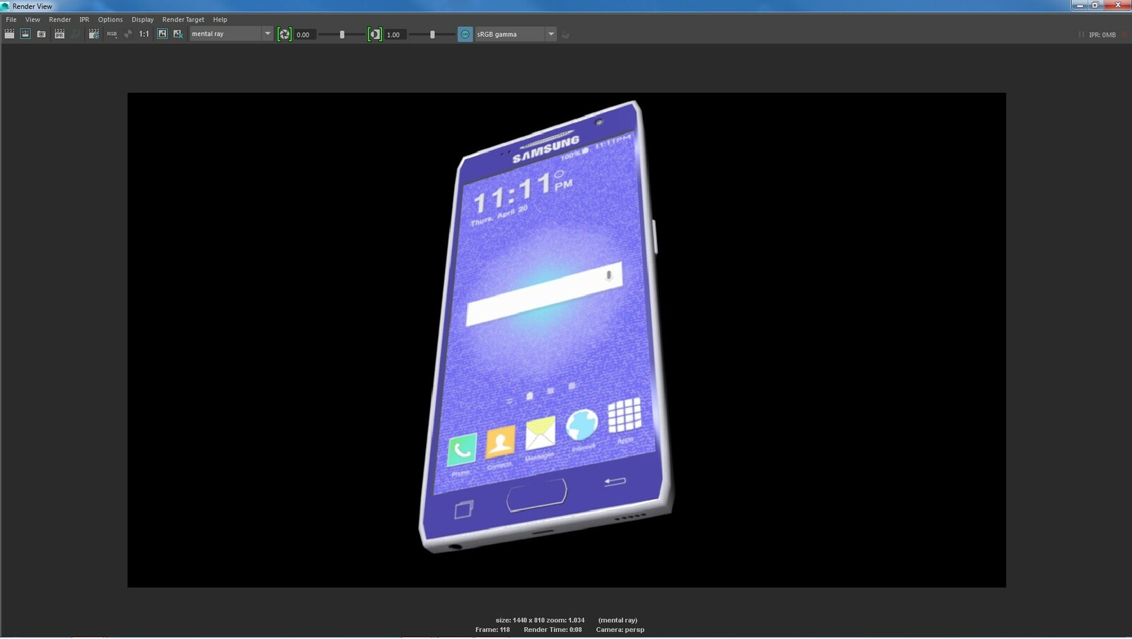 The final 3D model of the Samsung Galaxy smart phone