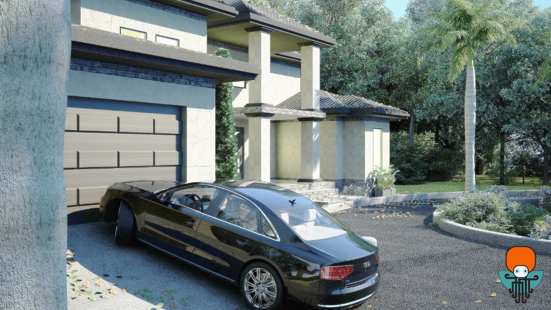 Side view House and car zoomed