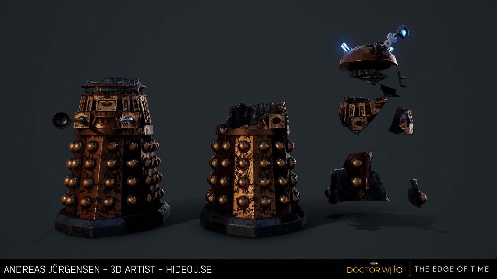 Various states of destroyed Dalek, physics debris on the right