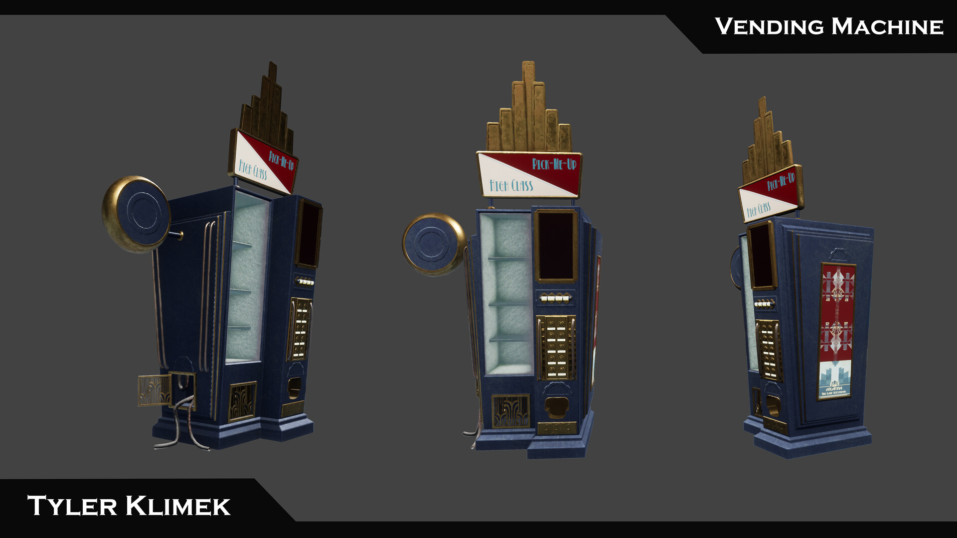 The vending machine asset I made for the scene. This design was extremely influenced by bioshock