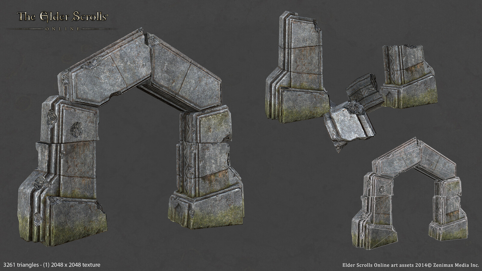 Final in game model for an Ancient Stone Arch created for ESO