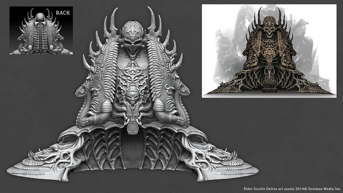 WIP of Zbrush sculpt for Sithis Shrine model created for ESO.