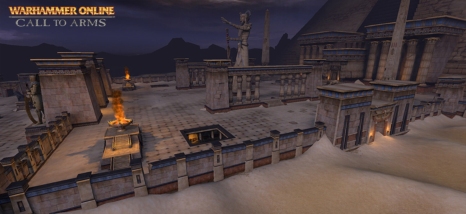 Main Causeway Area - Statues and Main Pyramid created by fellow artist. Responsible for a majority of the remaining assets in scene as well as layout and design of area.