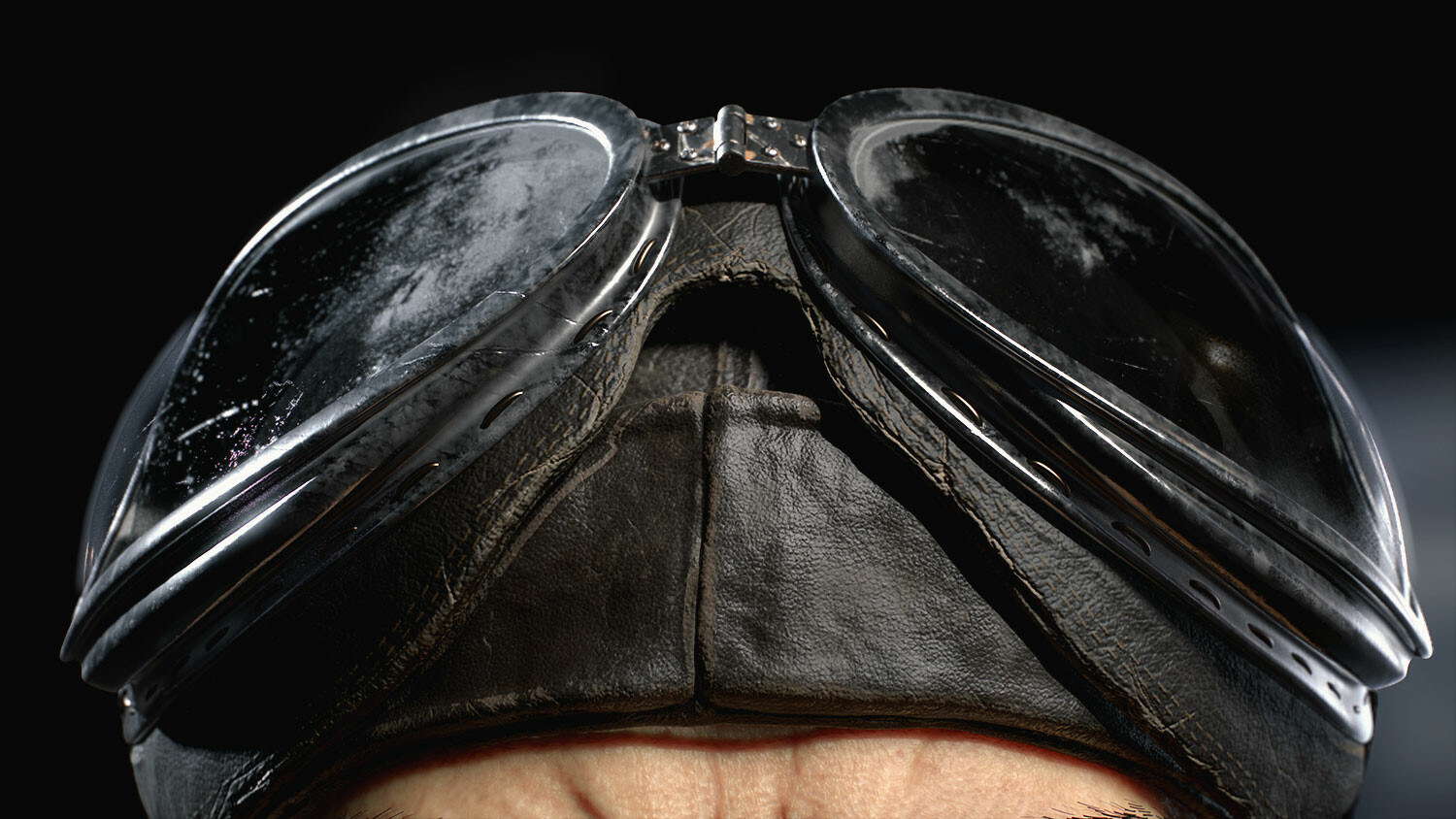 Leather and goggles closeup
