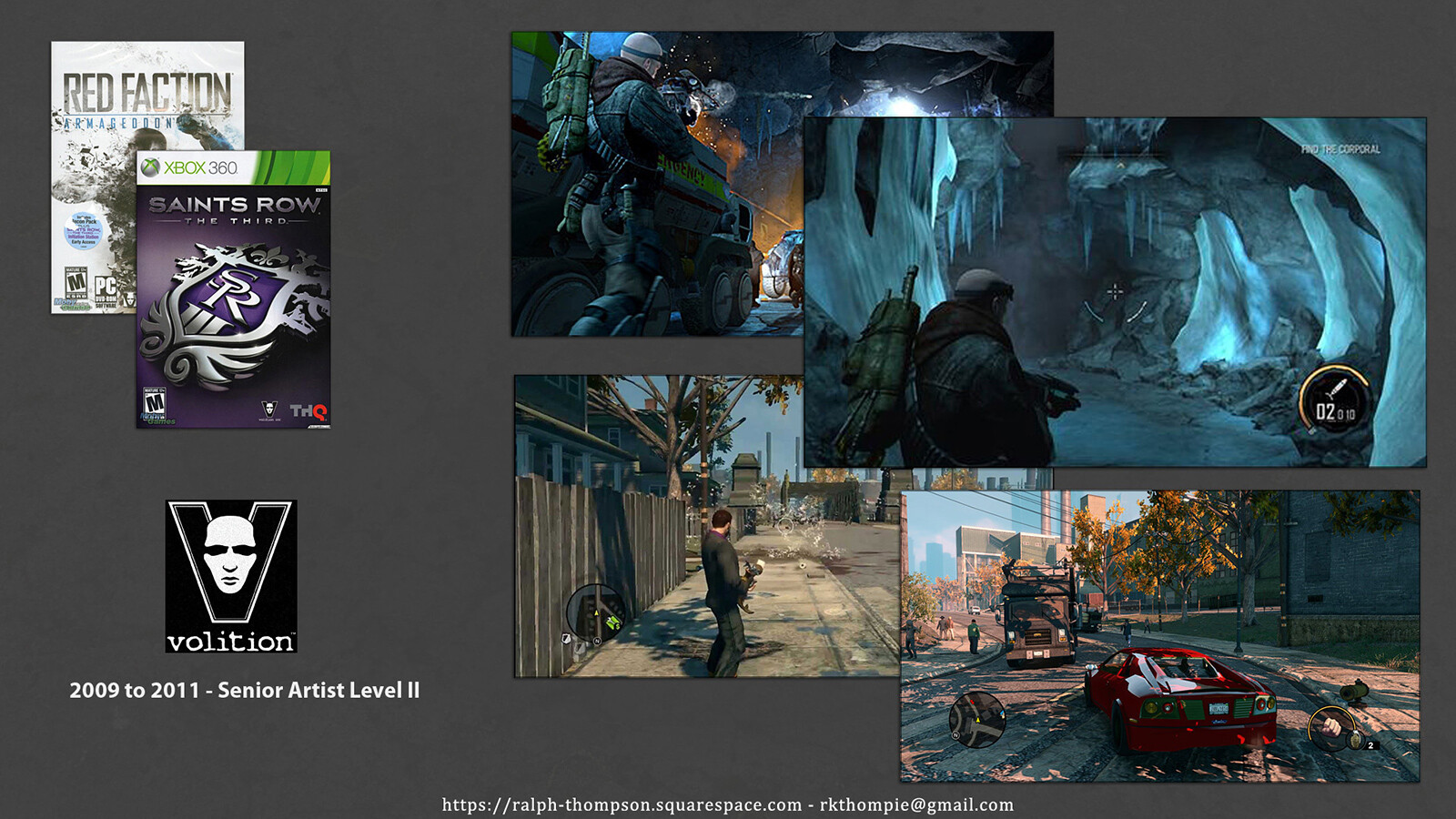 Shots from the two titles I worked on while at Volition, Red Faction and Saints Row The Third.