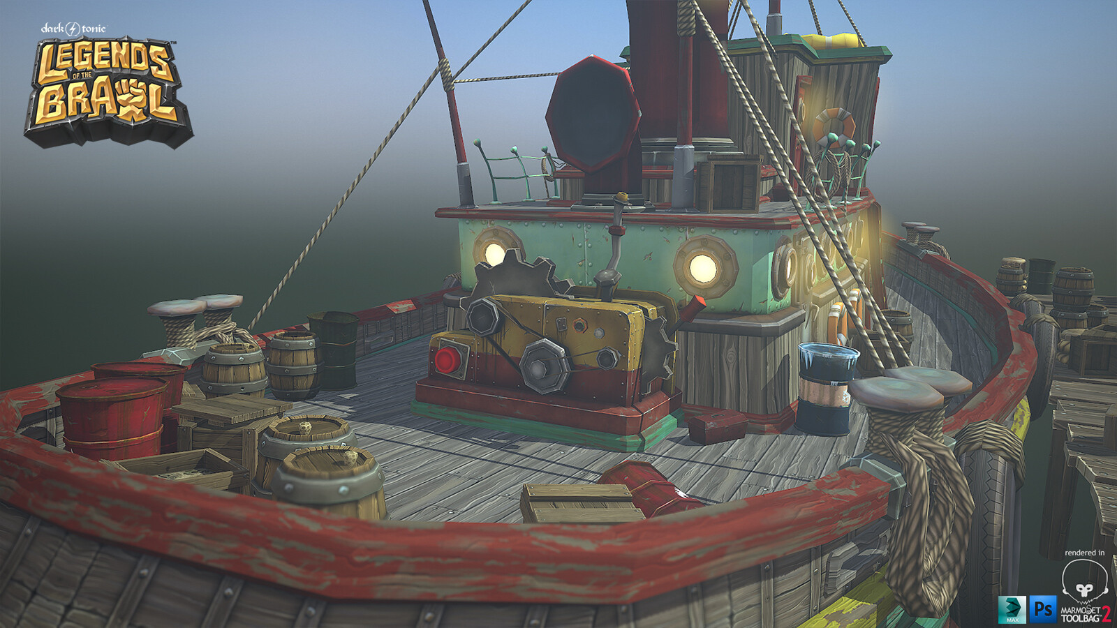 Stylized Tugboat, Props and Docks created for Legends of the Brawl