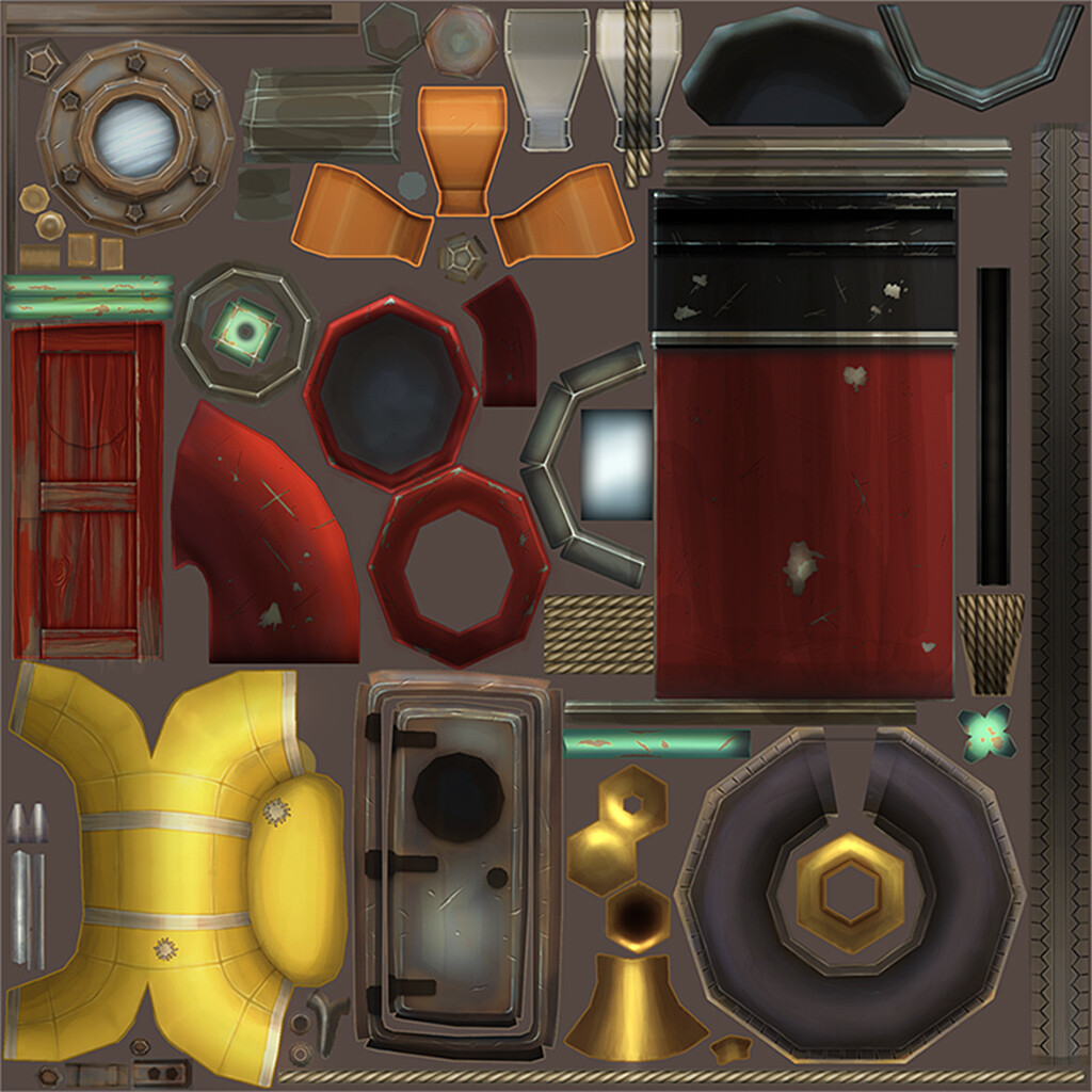 Texture sheet created for Tug boat asset for Dark Tonics Legends of the Brawl