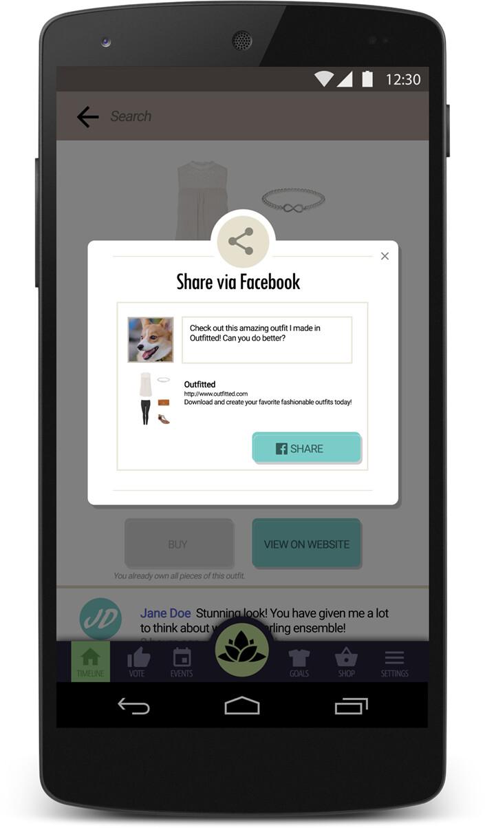 UI mockup for a fashion social app.