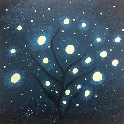 Floor van den bank lights in tree