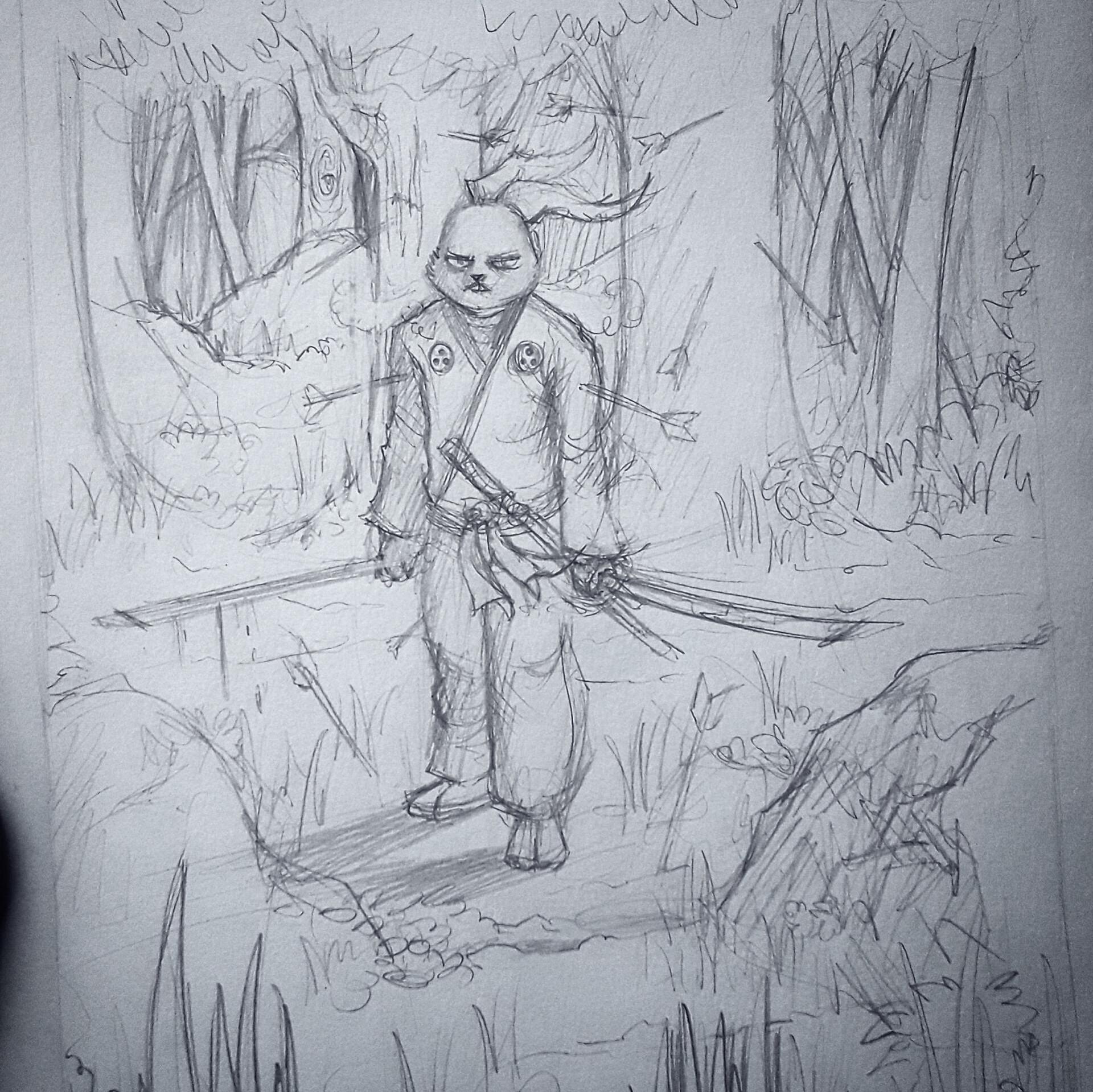 Usagi Yojimbo commission pencil rough