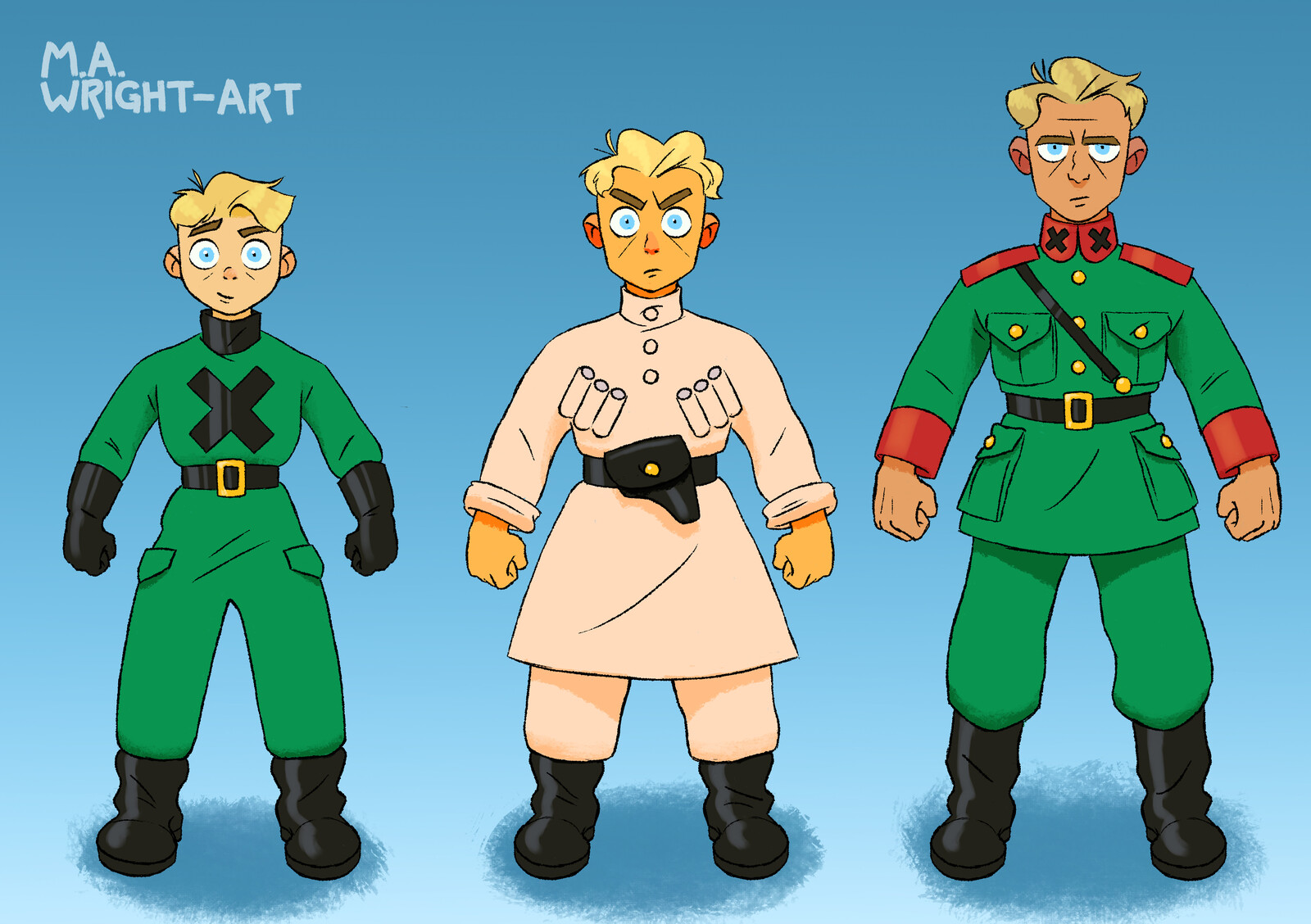 Freecloud Character Design - Lawrence's Age Progression
