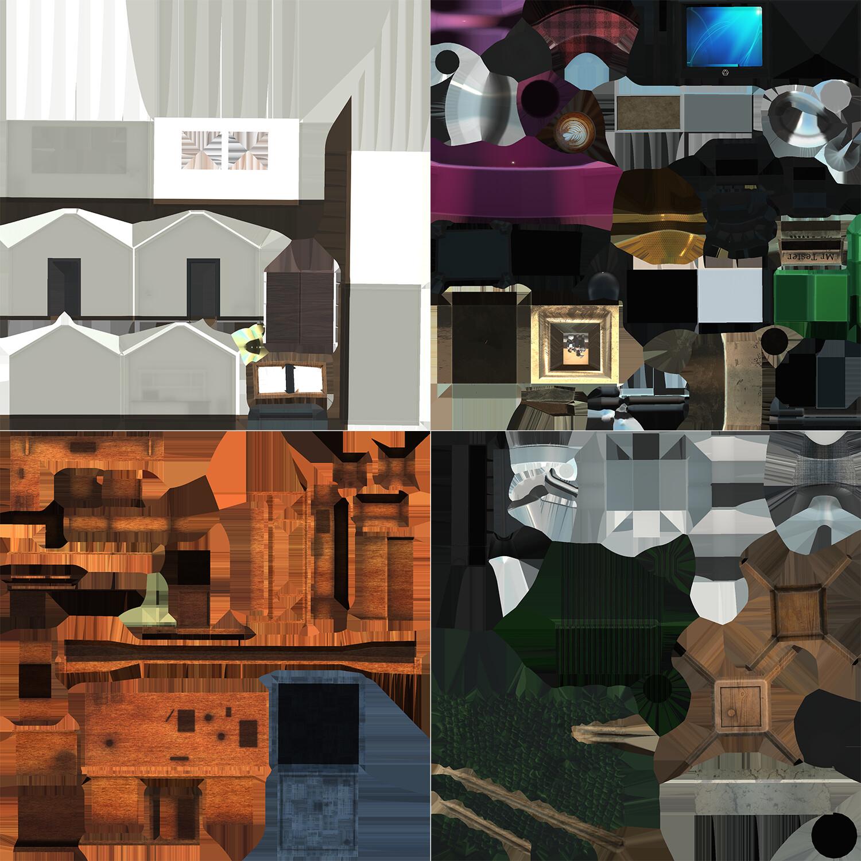 VR Office - UV + Albedo Maps, 4 maps displayed