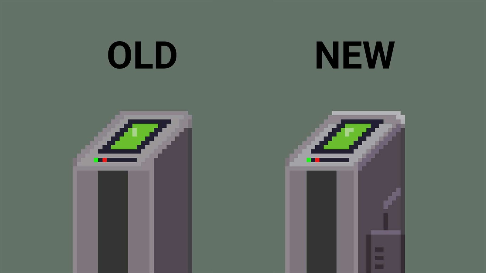 Here's an comparison of the two terminal variations. I was suggested by a friend to add the side panels to the new one to sale the metallic / machinery look. The old version also had not a lot of highlighting and some perspective issues which I fixed.