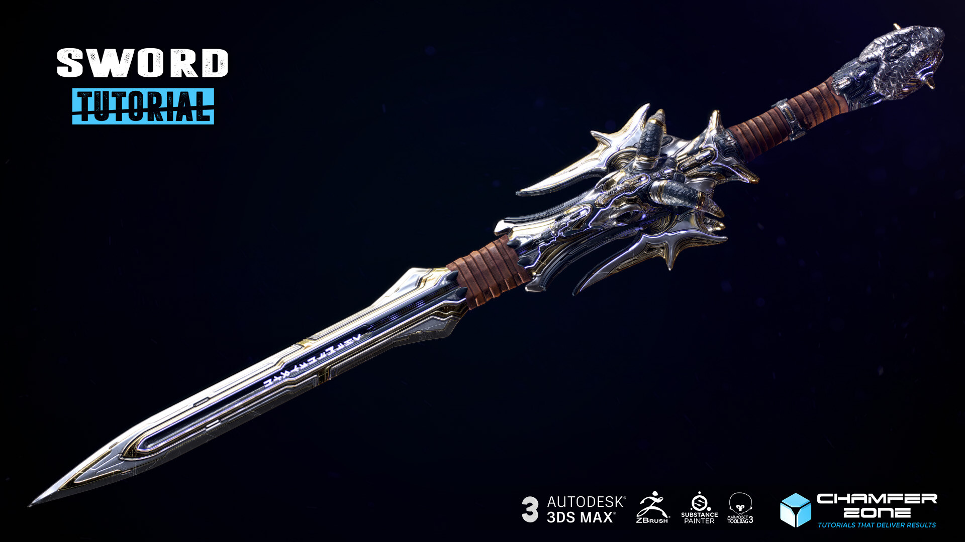 Tim bergholz chamferzone com chamferzone sword tutorial 3dsmax zbrush substance painter marmoset all