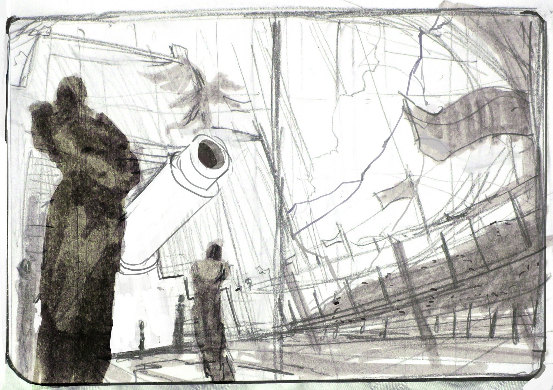 Composition sketch, I decided to reduce the importance of the cannon.