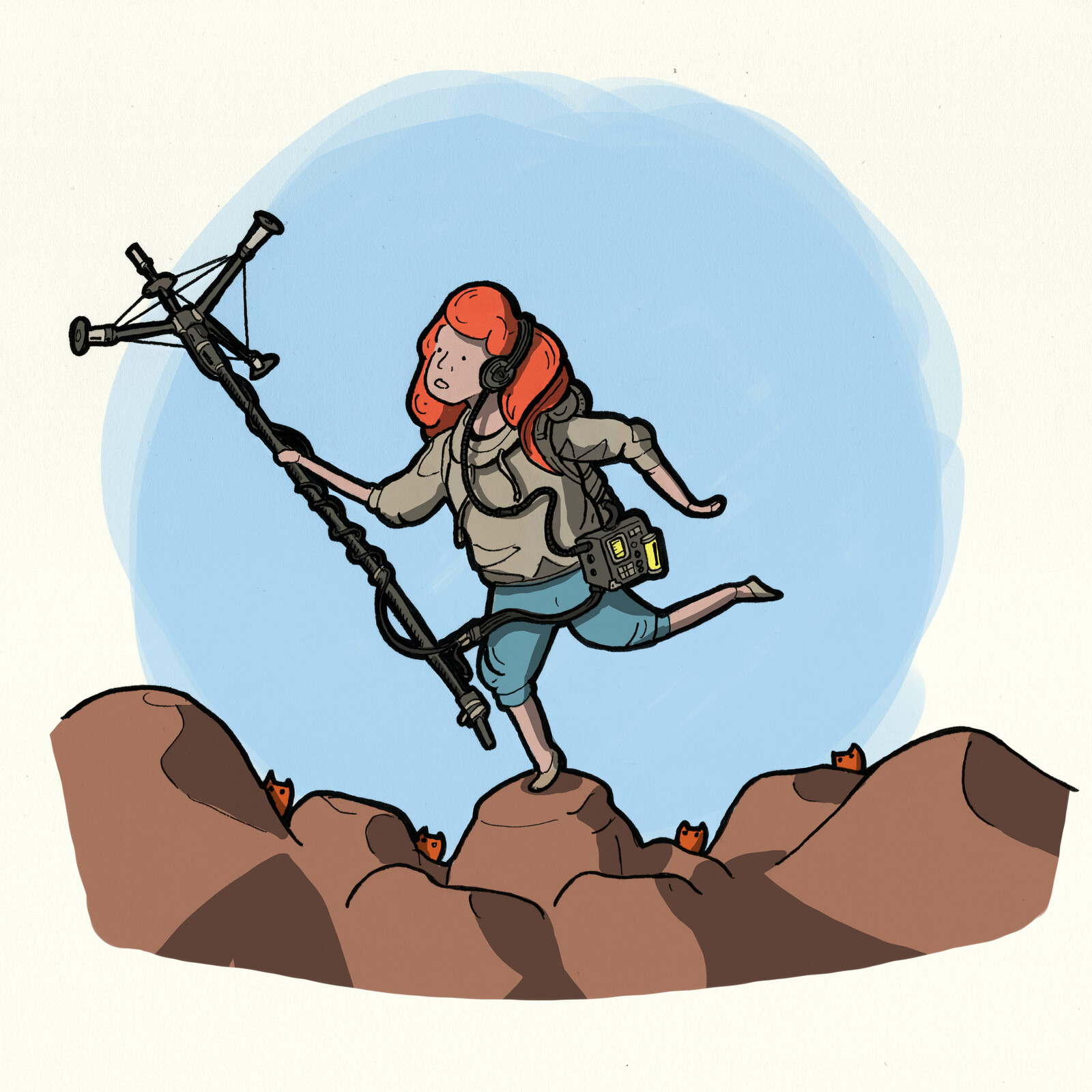 1-The adventurer Among the rocks of the great red rocky desert EK was looking for wavy space stuff with her antenna.
