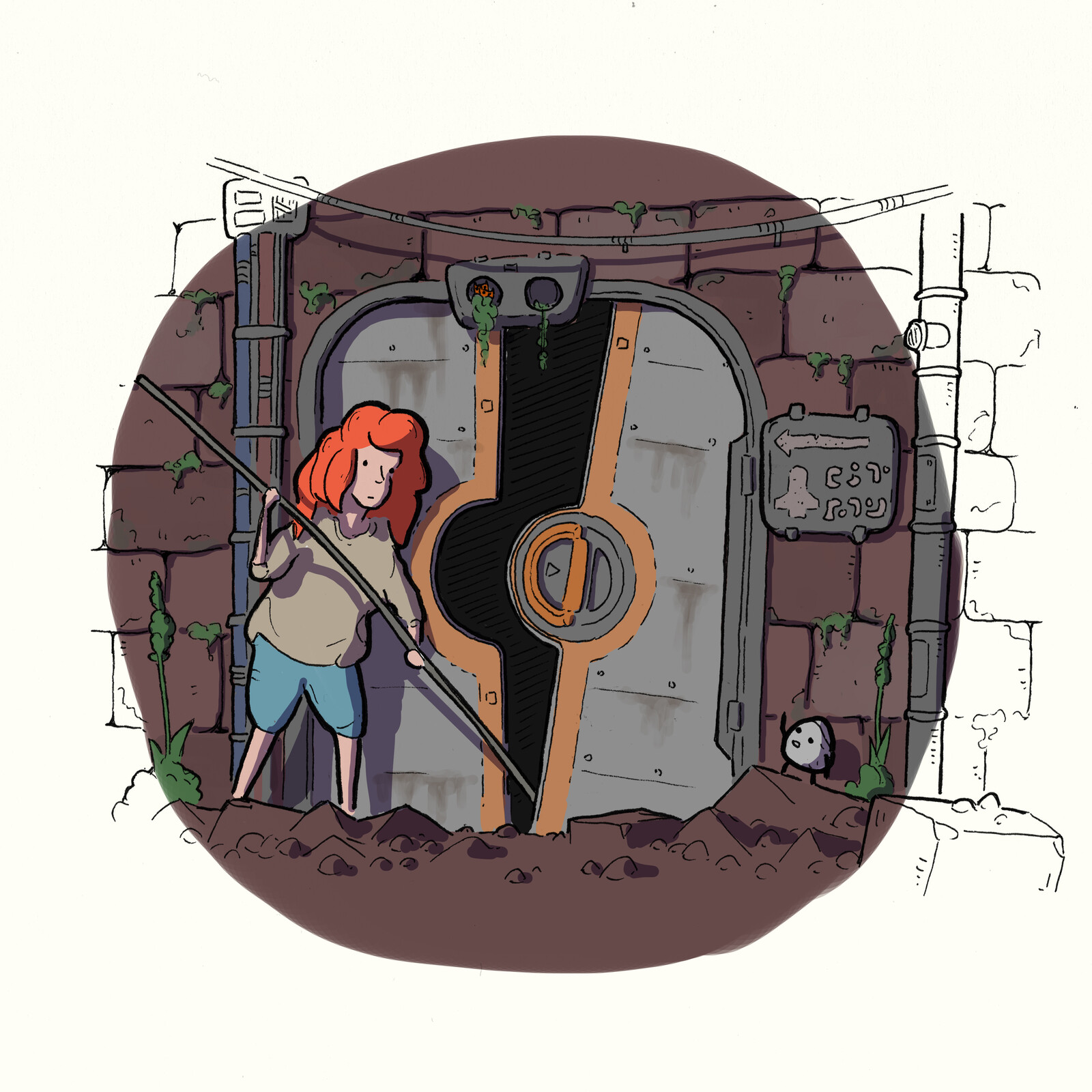 """21-Hope The next day, as Ek and Och were searching for anything that could help them out of this cheese-barren place, they stumbled upon a big metal door with a sign saying """"Galbürkkh"""". That could roughly translate to """"spaceship hangar""""  or """"shoebox"""""""
