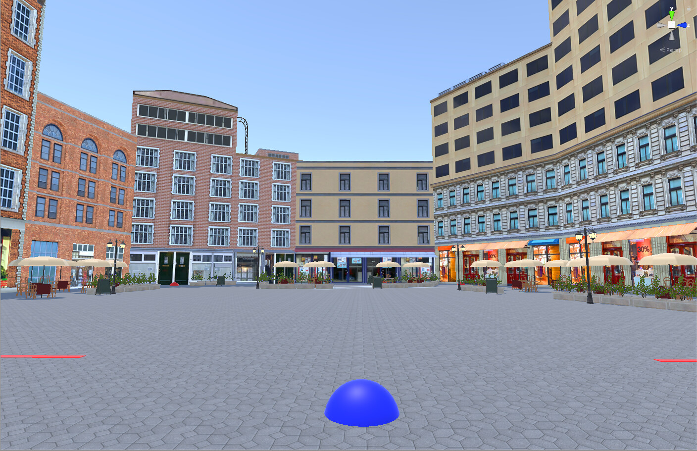 A plaza with debug