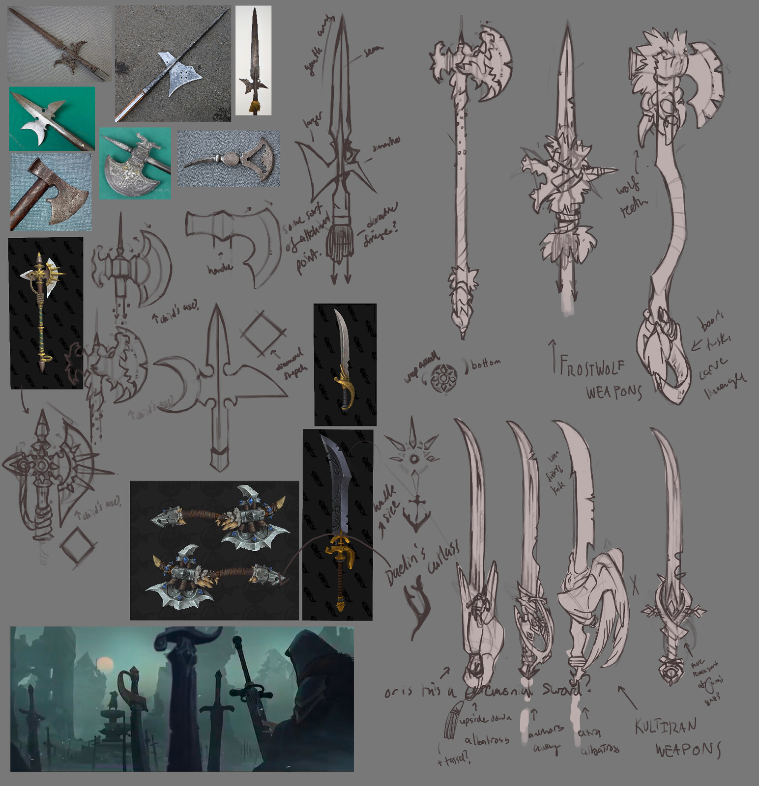 Weapons concepts: The idea of her either inheriting some archaic Kul Tiran cutlass (the albatross for its symbology connected to bad luck), or a mixture of her heritages felt right. Halberds, axes with boar tusks, all stamped with her ancestors' names...