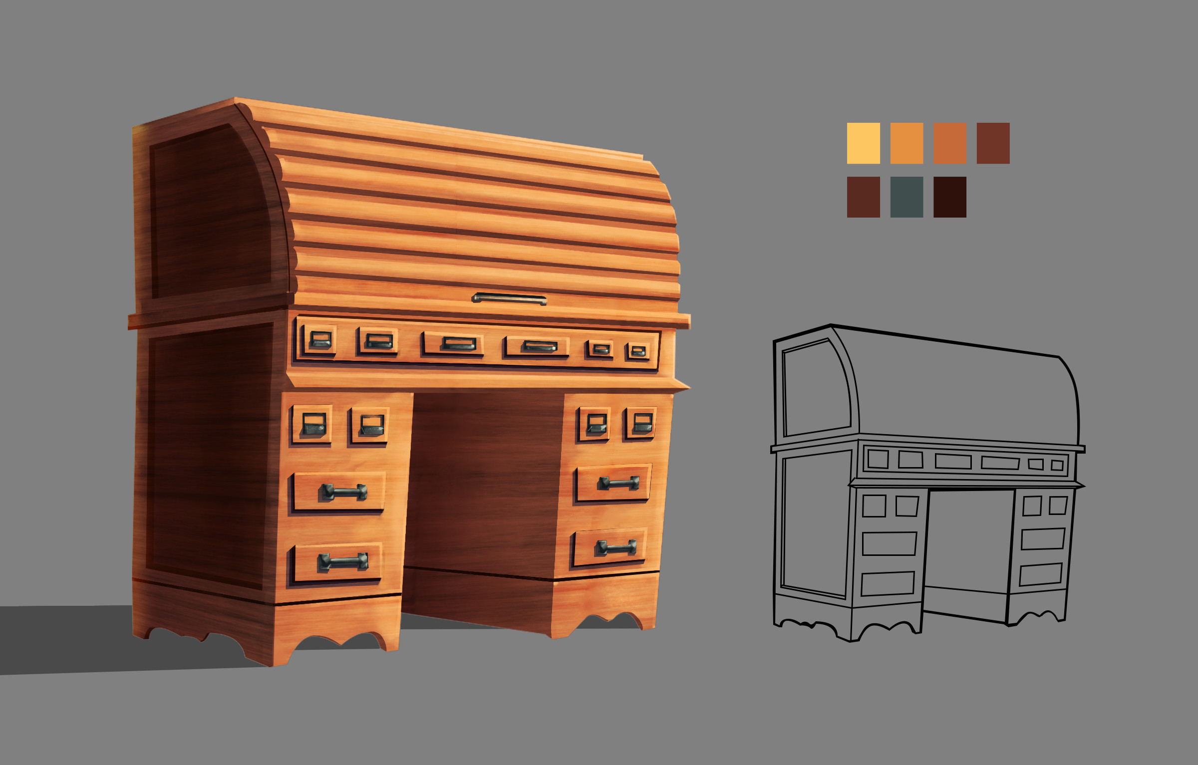 A Prop Design of writing desk from the Edwardian Era.